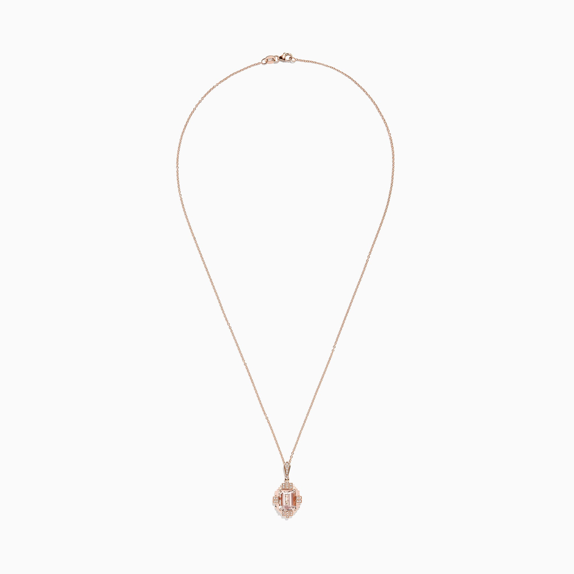 Effy 14K Rose Gold Morganite and Diamond Pendant, 2.73 TCW