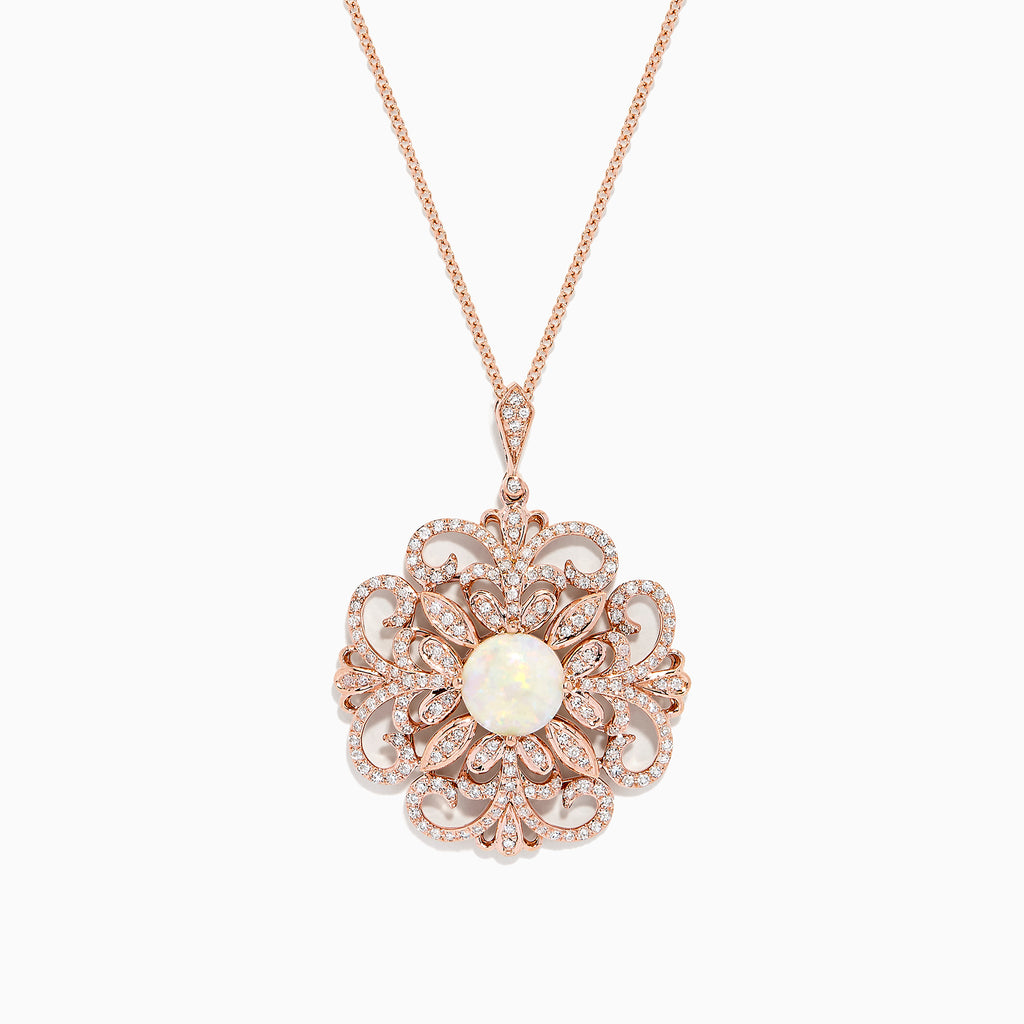 Effy 14K Rose Gold Opal and Diamond Filigree Pendant, 1.92 TCW