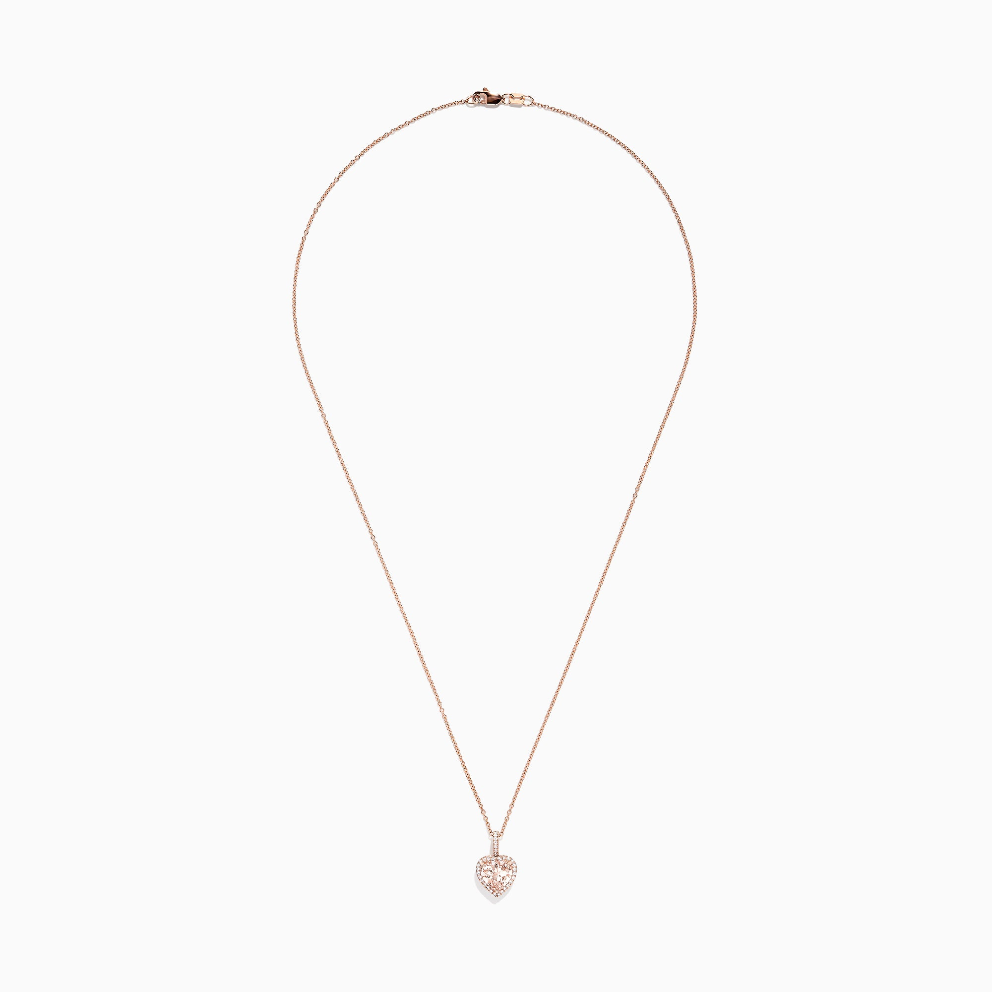 Effy Blush 14K Rose Gold Morganite and Diamond Heart Pendant, 1.88 TCW