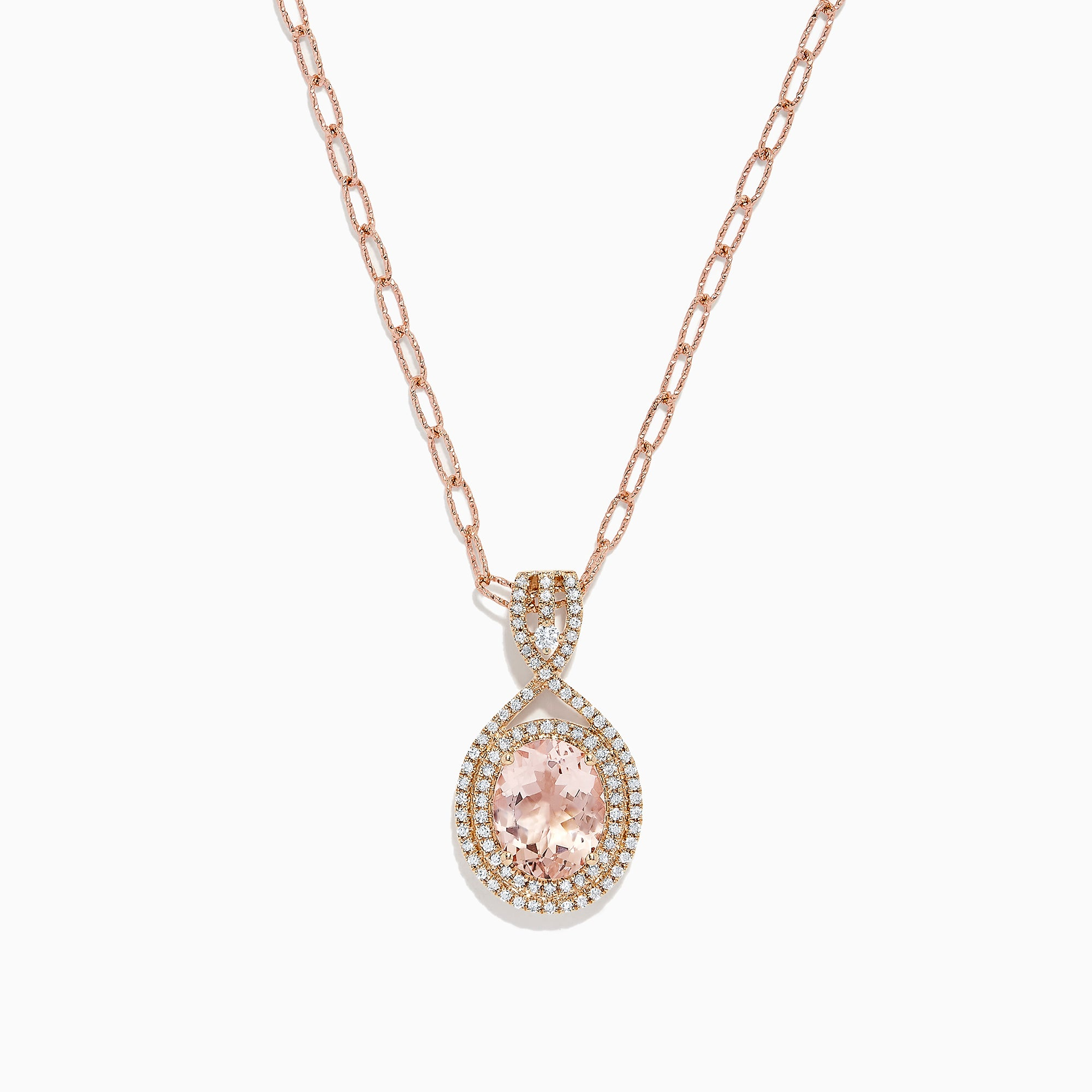 Effy 14K Rose Gold Morganite and Diamond Pendant, 2.77 TCW
