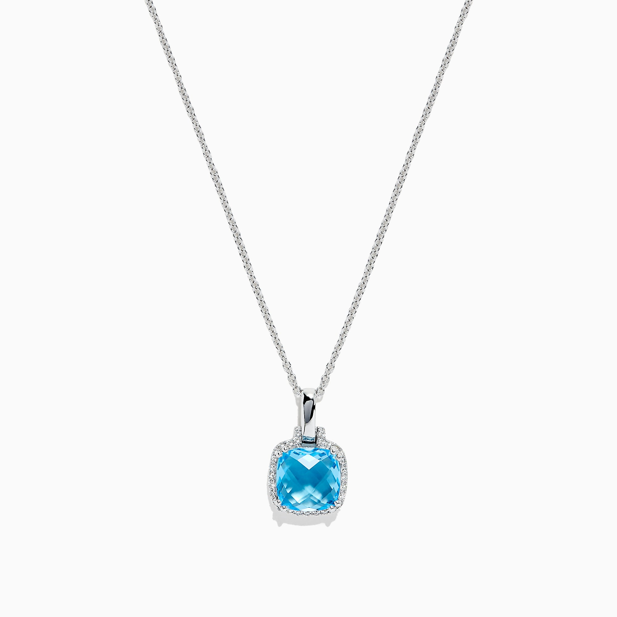 Effy 14K White Gold Blue Topaz and Diamond Pendant, 3.14 TCW