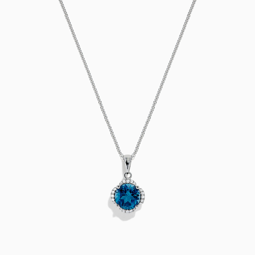 Effy Ocean Bleu 14K Gold London Blue Topaz and Diamond Pendant, 2.10 TCW