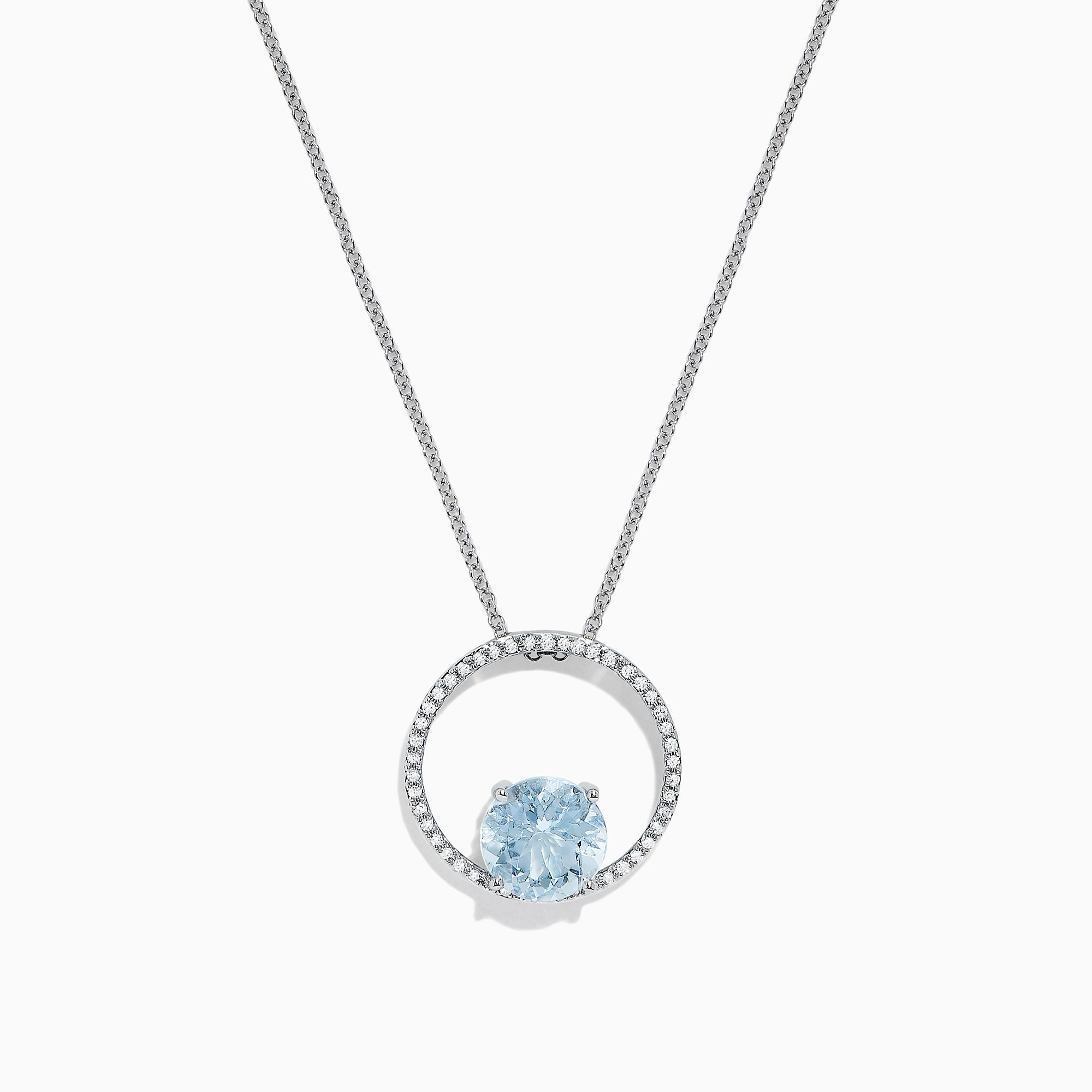 Effy Aquarius 14K White Gold Aquamarine and Diamond Pendant, 1.95 TCW
