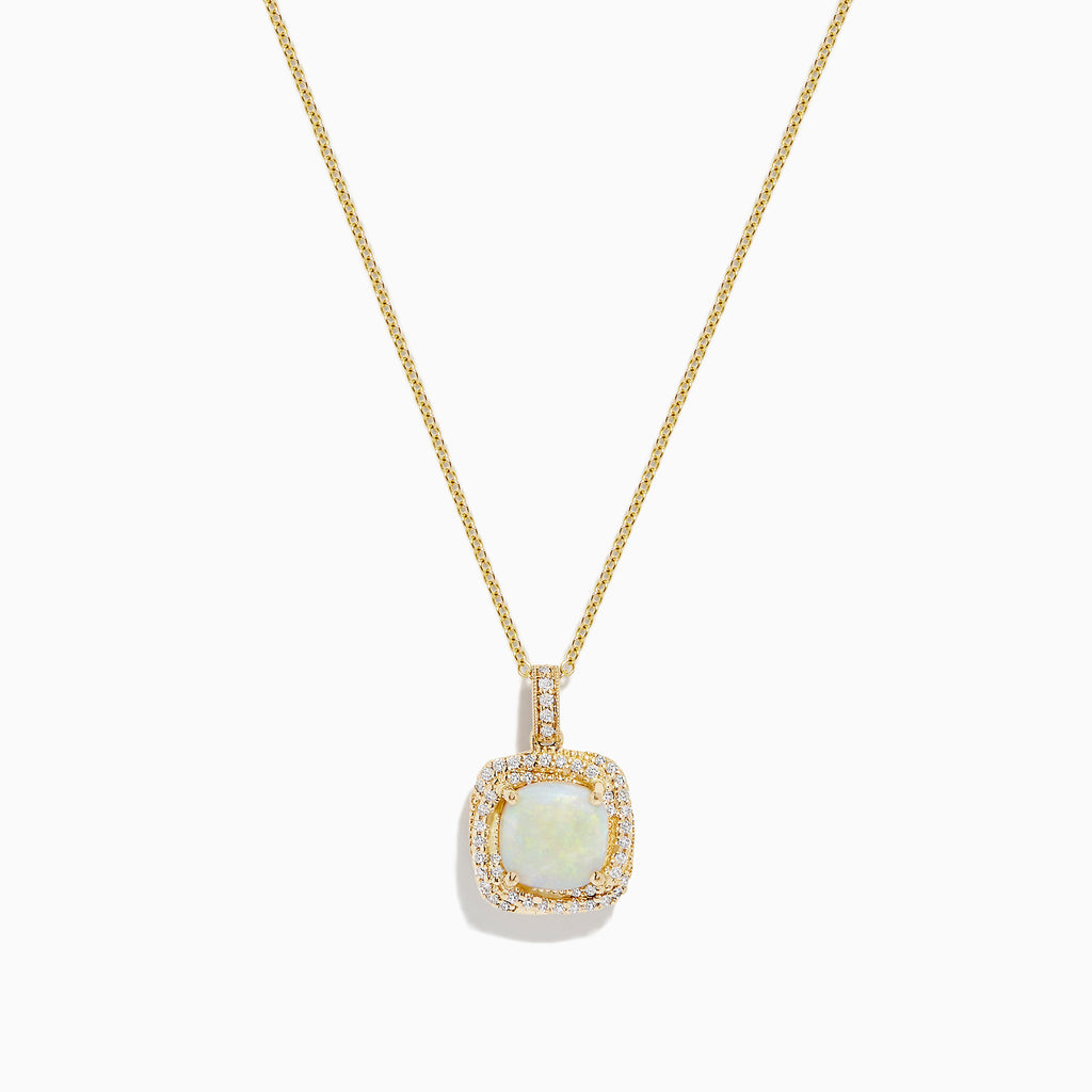Effy Aurora 14K Yellow Gold Opal and Diamond Pendant, 1.41 TCW