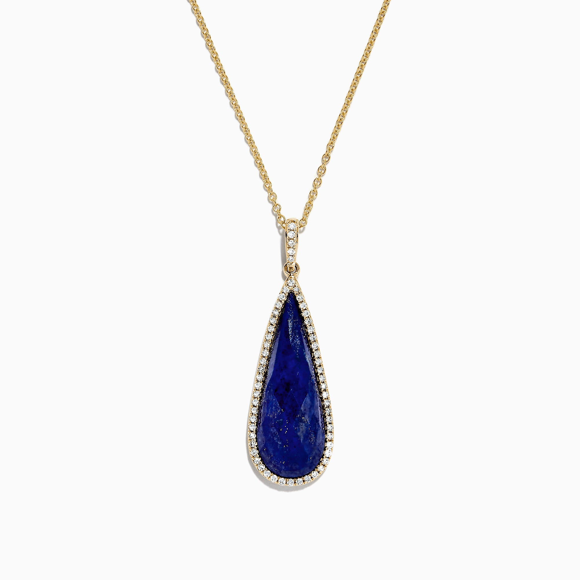 Effy 14K Yellow Gold Lapis Laziuli and Diamond Drop Pendant, 13.45 TCW