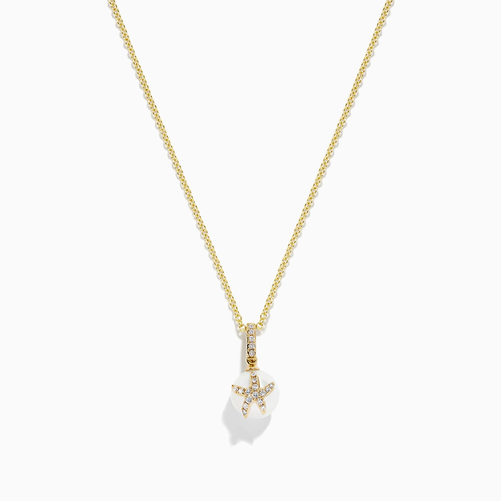 Effy 14K Yellow Gold Cultured Pearl and Diamond Starfish Pendant, 0.08 TCW