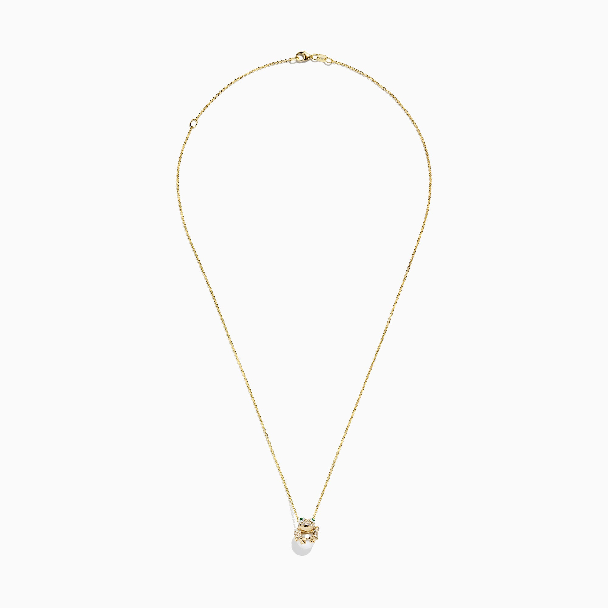 Effy 14K Yellow Gold Cultured Pearl and Diamond Frog Pendant, 0.23 TCW