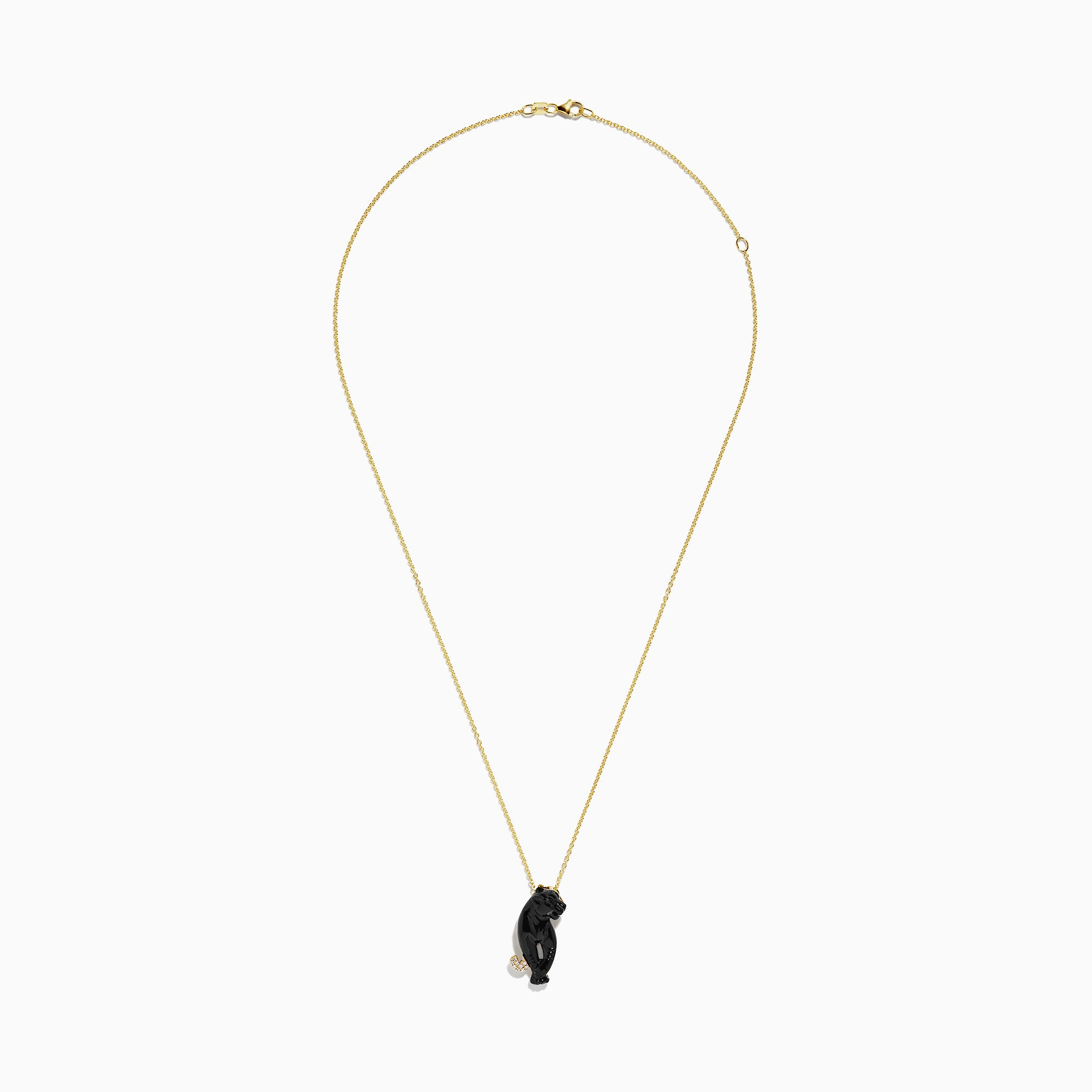 Effy Signature 14K Yellow Gold Onyx and Diamond Panther Pendant, 7.92 TCW