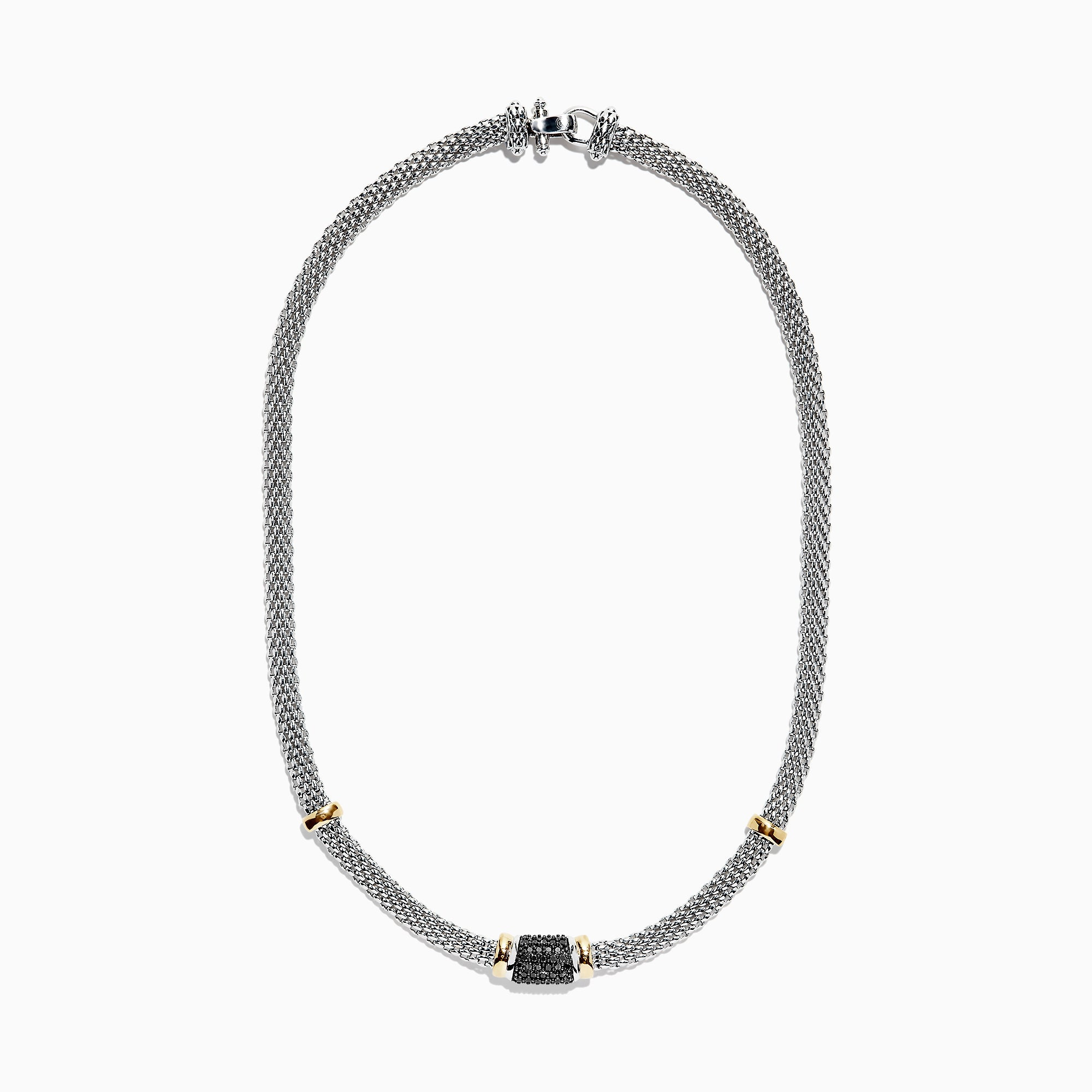 Effy 925 Sterling Silver & 18K Gold Black Diamond Woven Necklace, 0.61 TCW