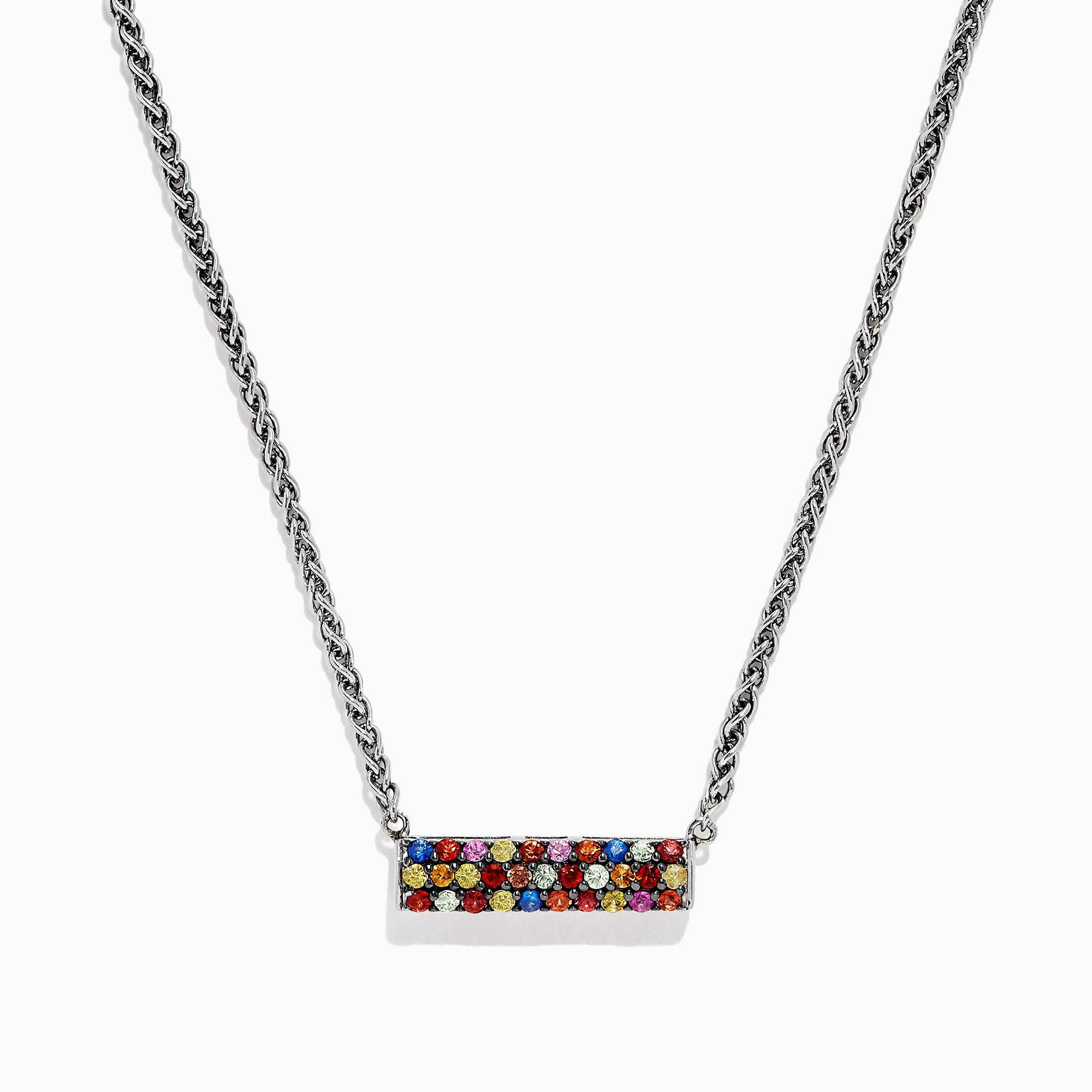 Effy Splash Sterling Silver Multi Sapphire Necklace, 0.95 TCW