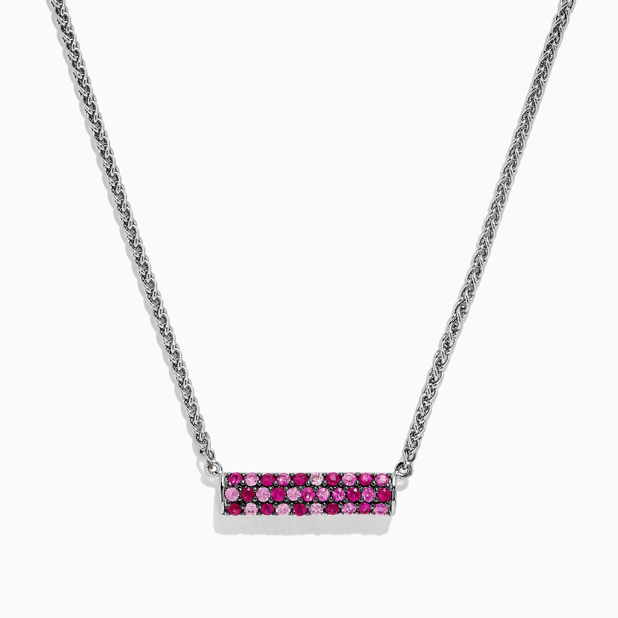 Effy Splash Sterling Silver Pink Sapphire and Ruby Necklace, 1.00 TCW