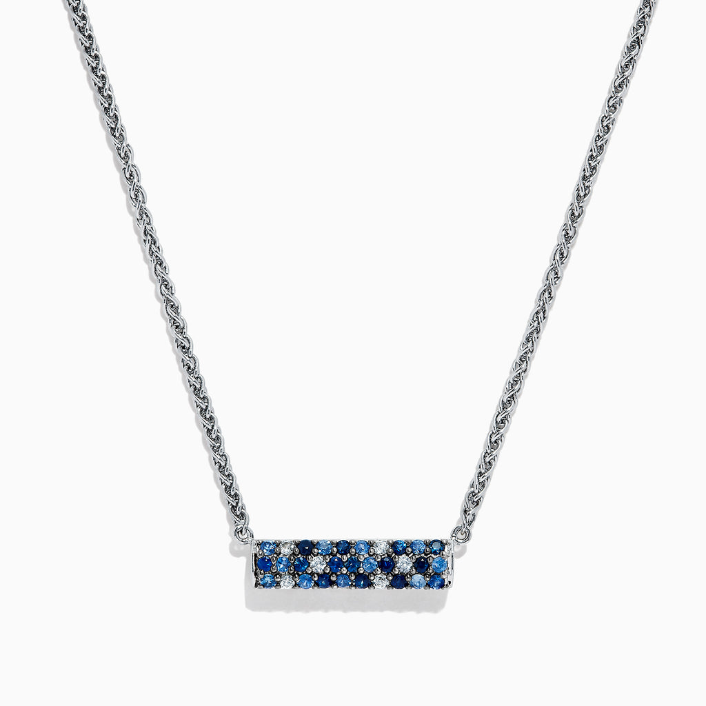 Effy Splash Sterling Silver Blue Sapphire Necklace, 0.95 TCW