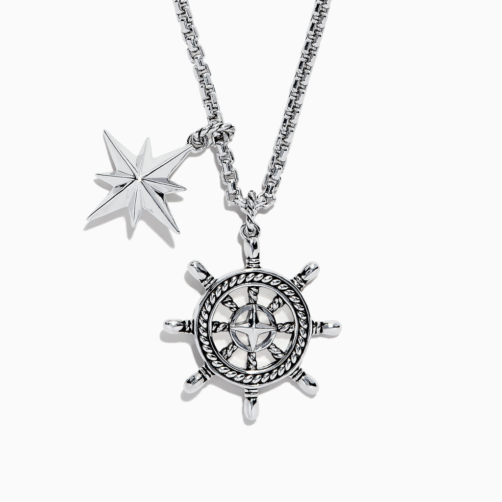 Effy Men's Sterling Silver Ship's Wheel and Star Pendant