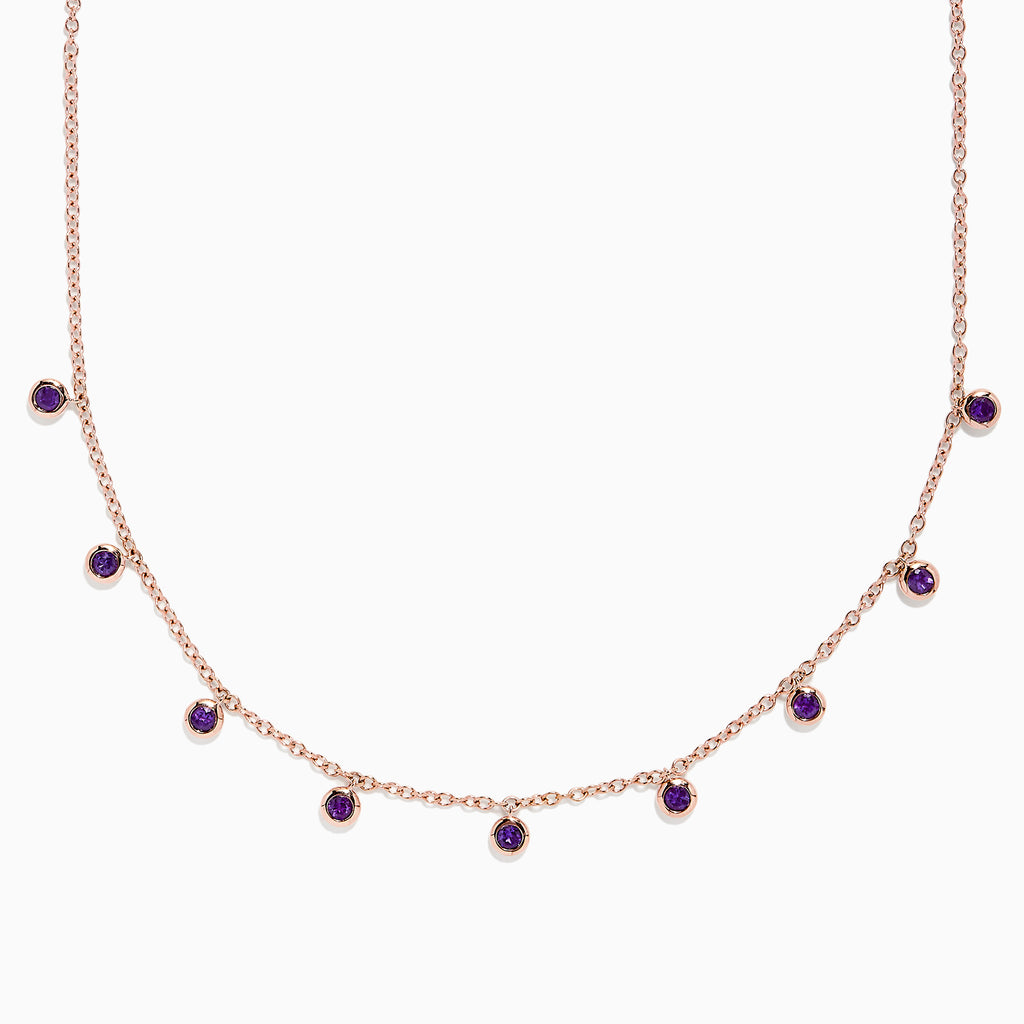 Effy 14K Rose Gold Amethyst Bezel Set Station Necklace, 1.00 TCW