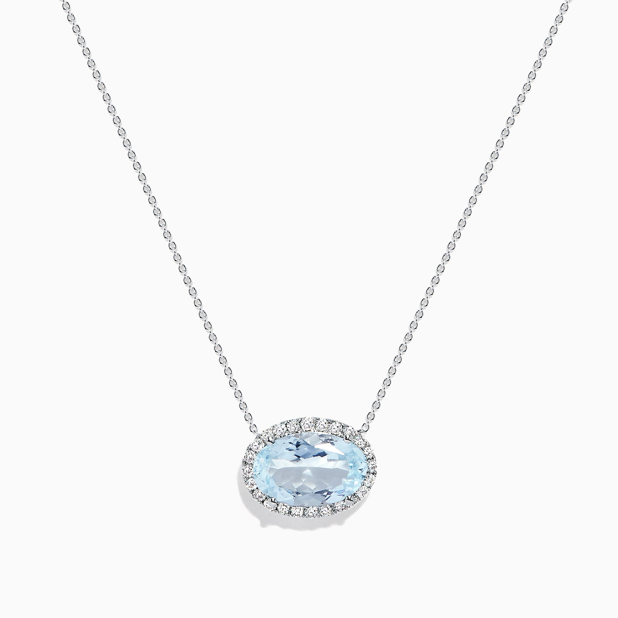 Effy Aquarius 14K White Gold Aquamarine and Diamond Necklace, 3.39 TCW