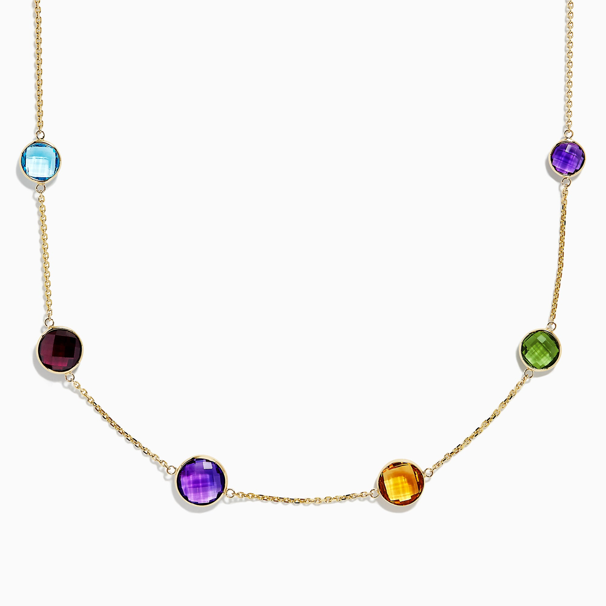 Effy Mosaic 14K Yellow Gold Multi Gemstone Station Necklace, 20.40 TCW
