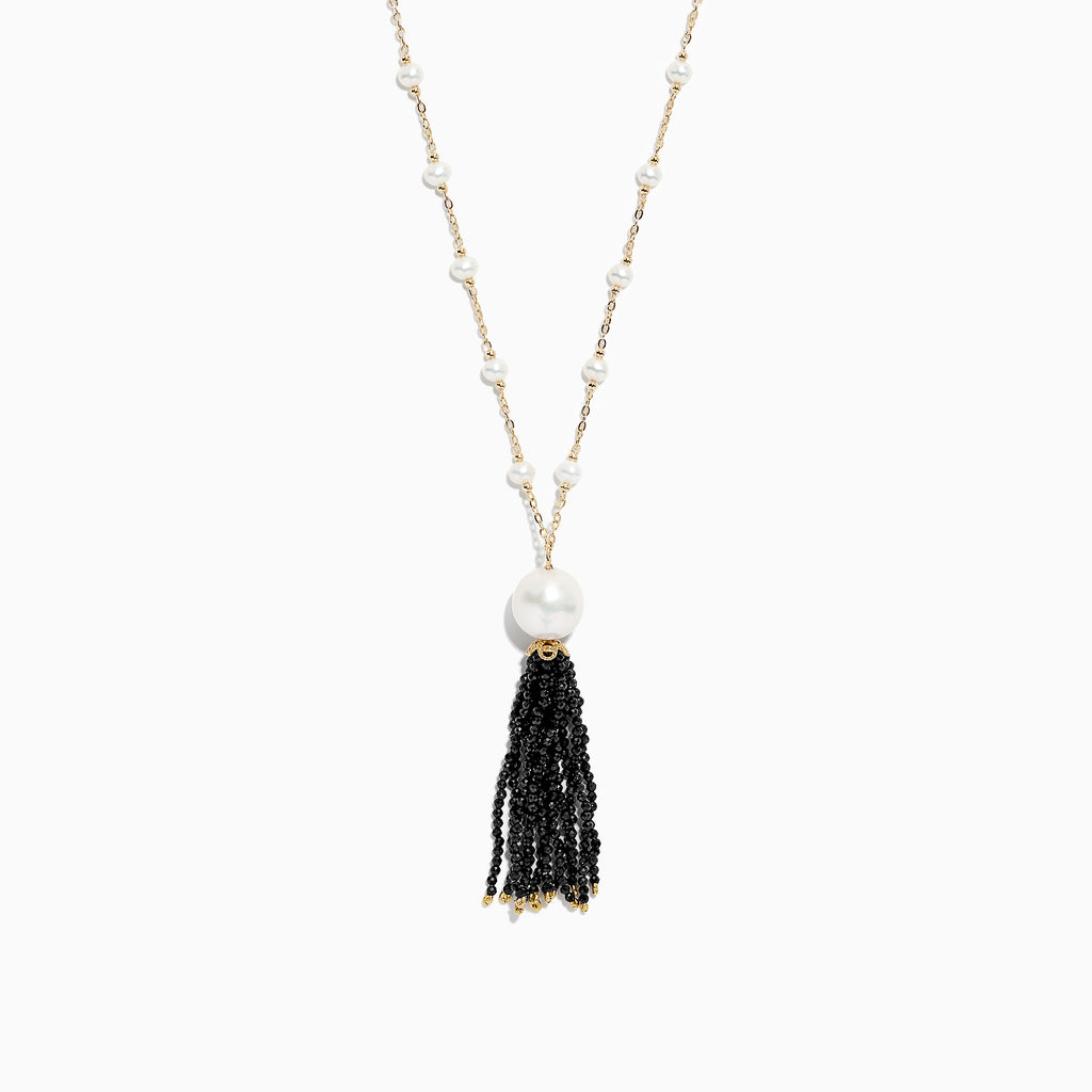 Effy 14K Yellow Gold Cultured Fresh Water Pearl and Spinel Tassel Necklace, 0.44 TCW