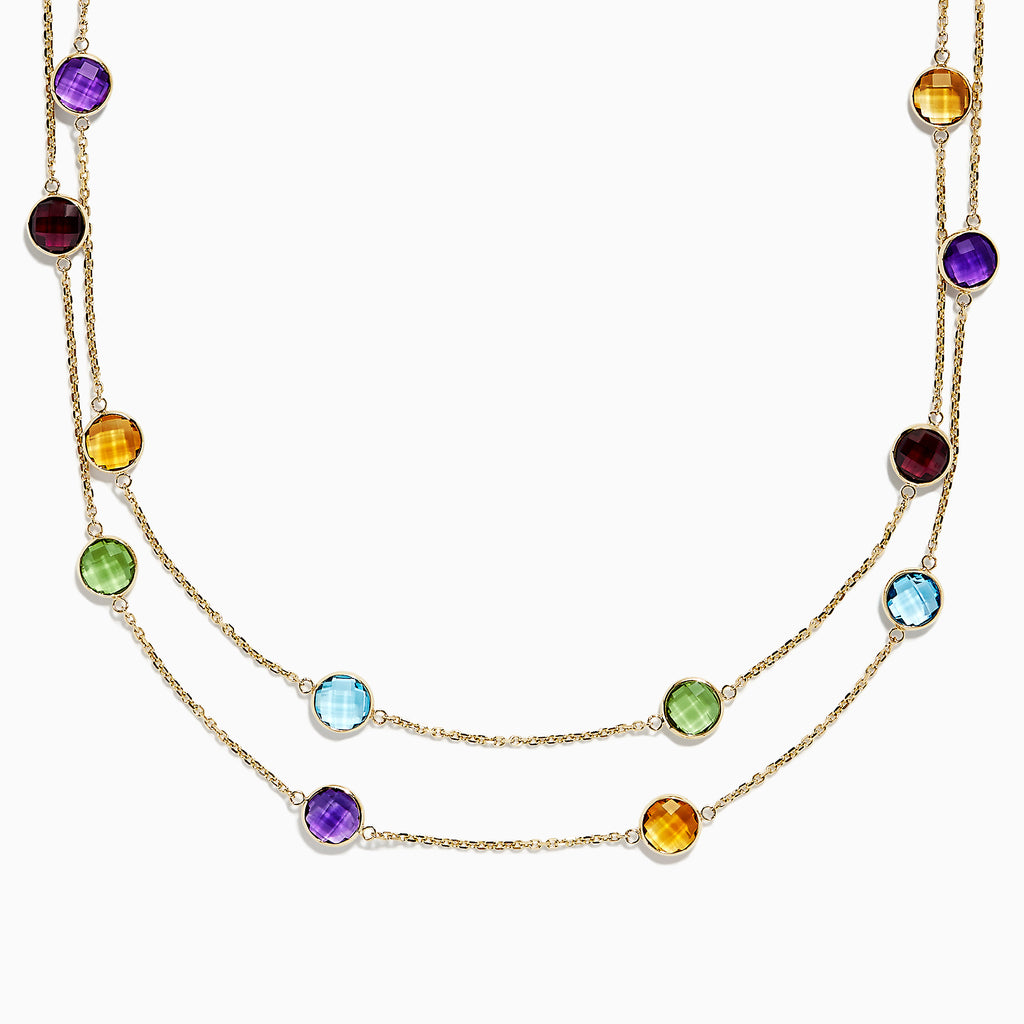 Effy Mosaic 14K Yellow Gold Multi Gemstone Station Necklace, 27.50 TCW
