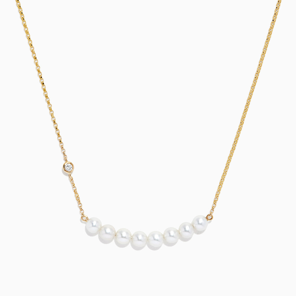 Effy 14K Gold Cultured Fresh Water Pearl and Diamond Necklace, 0.04 TCW