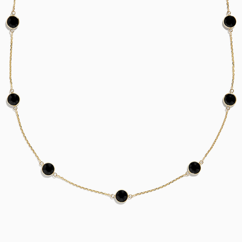 Effy Eclipse 14K Yellow Gold Onyx Station Necklace, 5.10 TCW