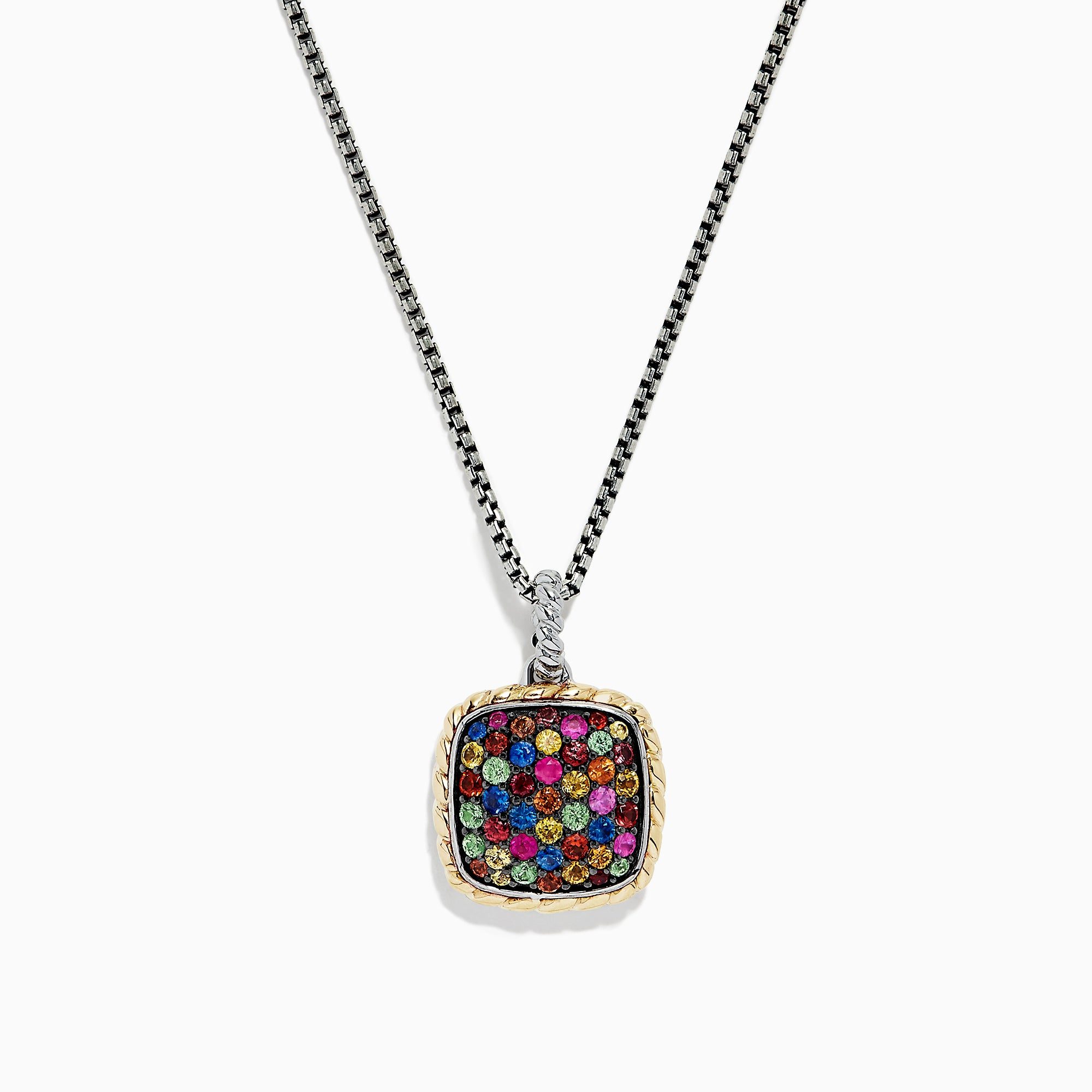 Effy Mosaic Sterling Silver & 18K Gold Multi Sapphire Pendant, 1.55 TCW