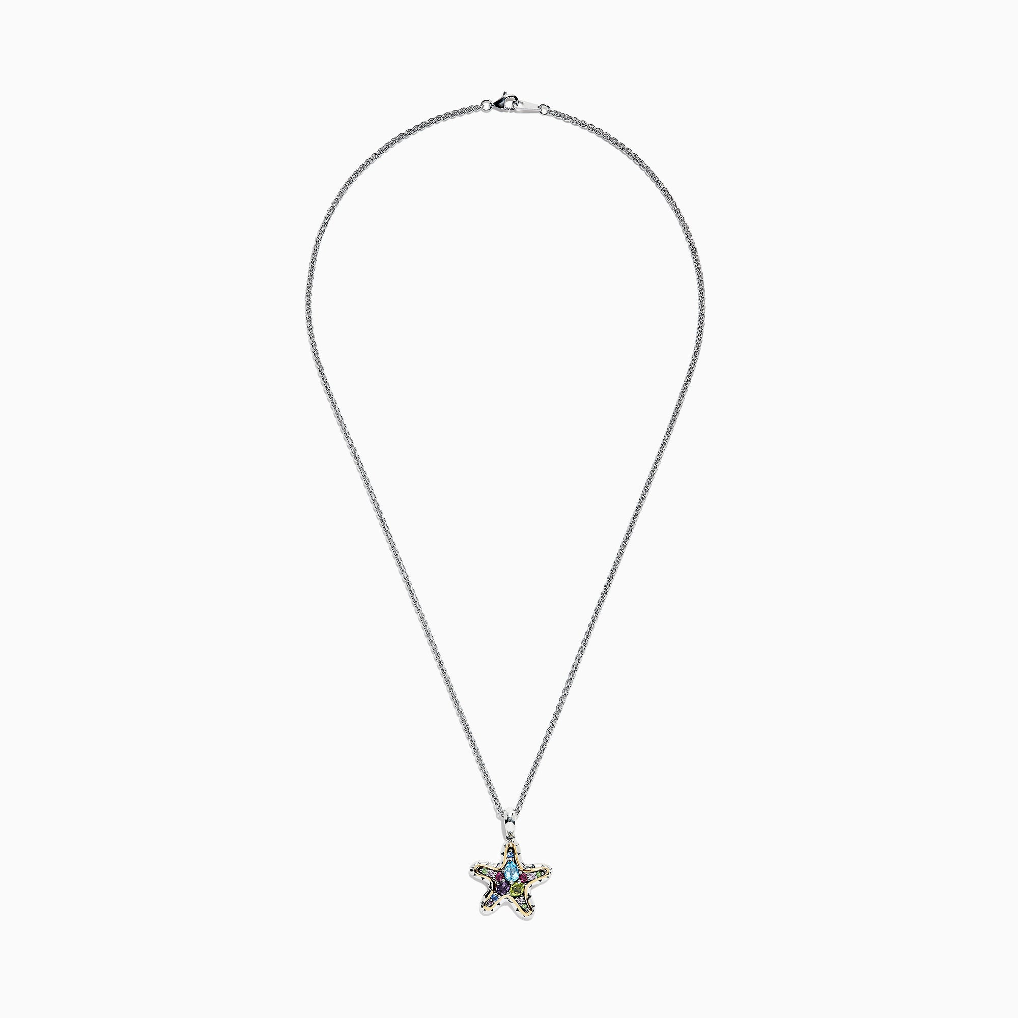 Effy Seaside Sterling Silver & 18K Gold Multi Gemstone Starfish Pendant, 1.82 TCW