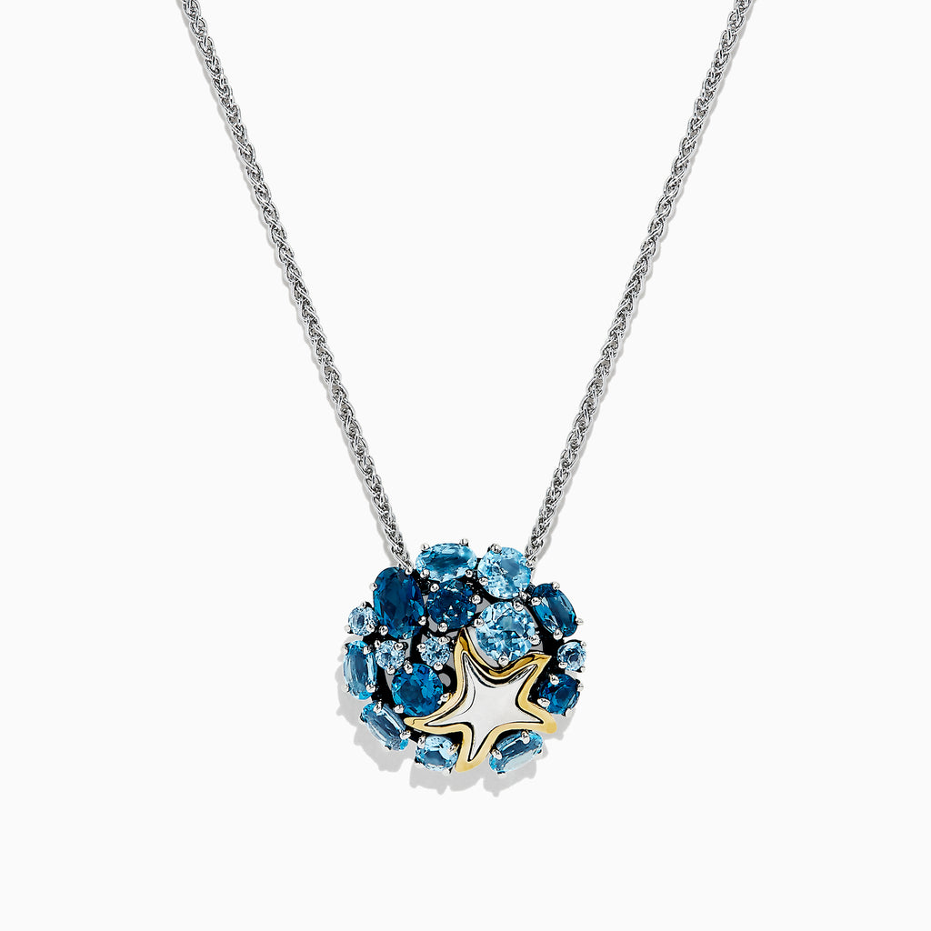 Effy Seaside Silver & 18K Gold Blue Topaz Starfish Pendant, 4.90 TCW