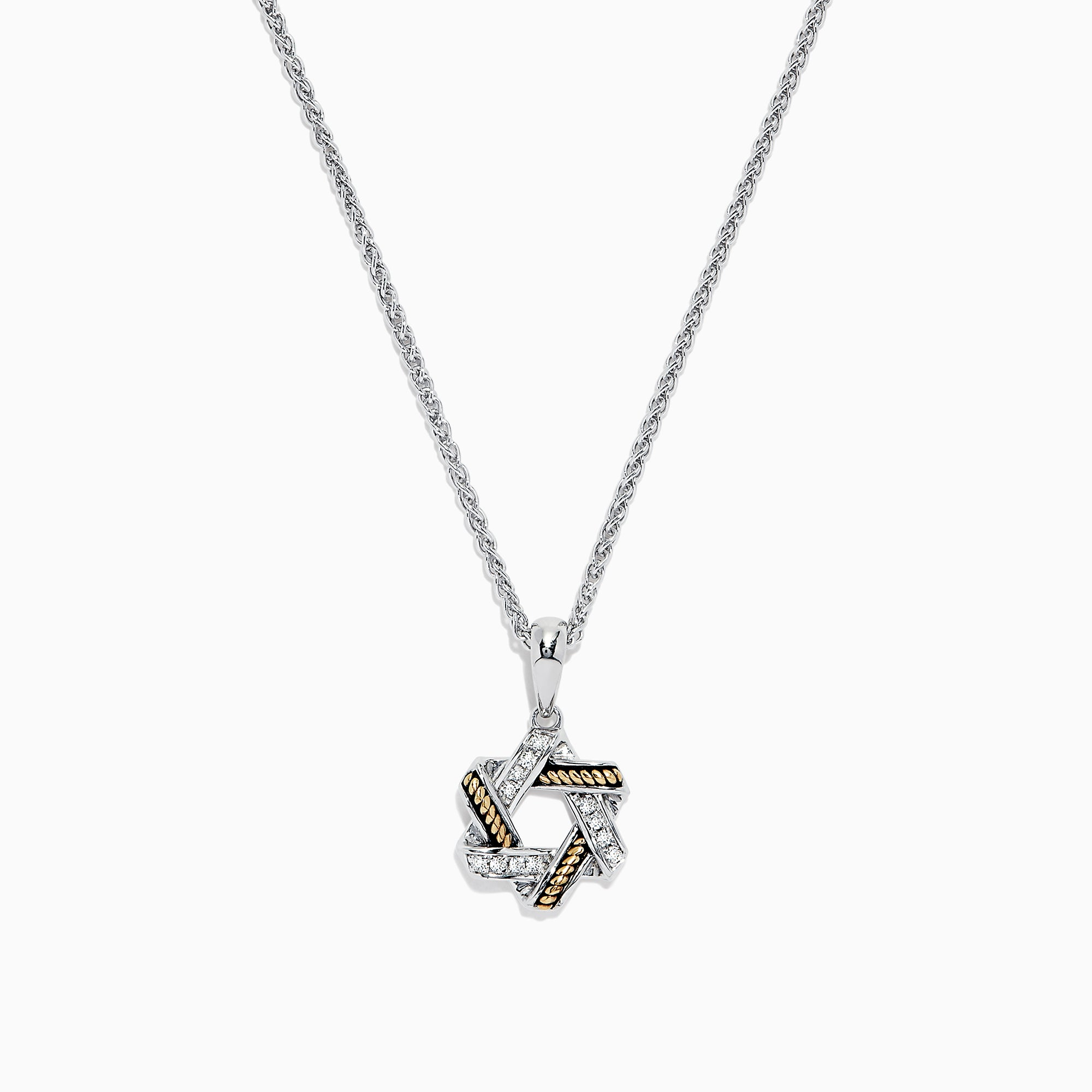 Effy 925 Sterling Silver & 18K Gold Diamond Star of David Pendant, 0.09 TCW
