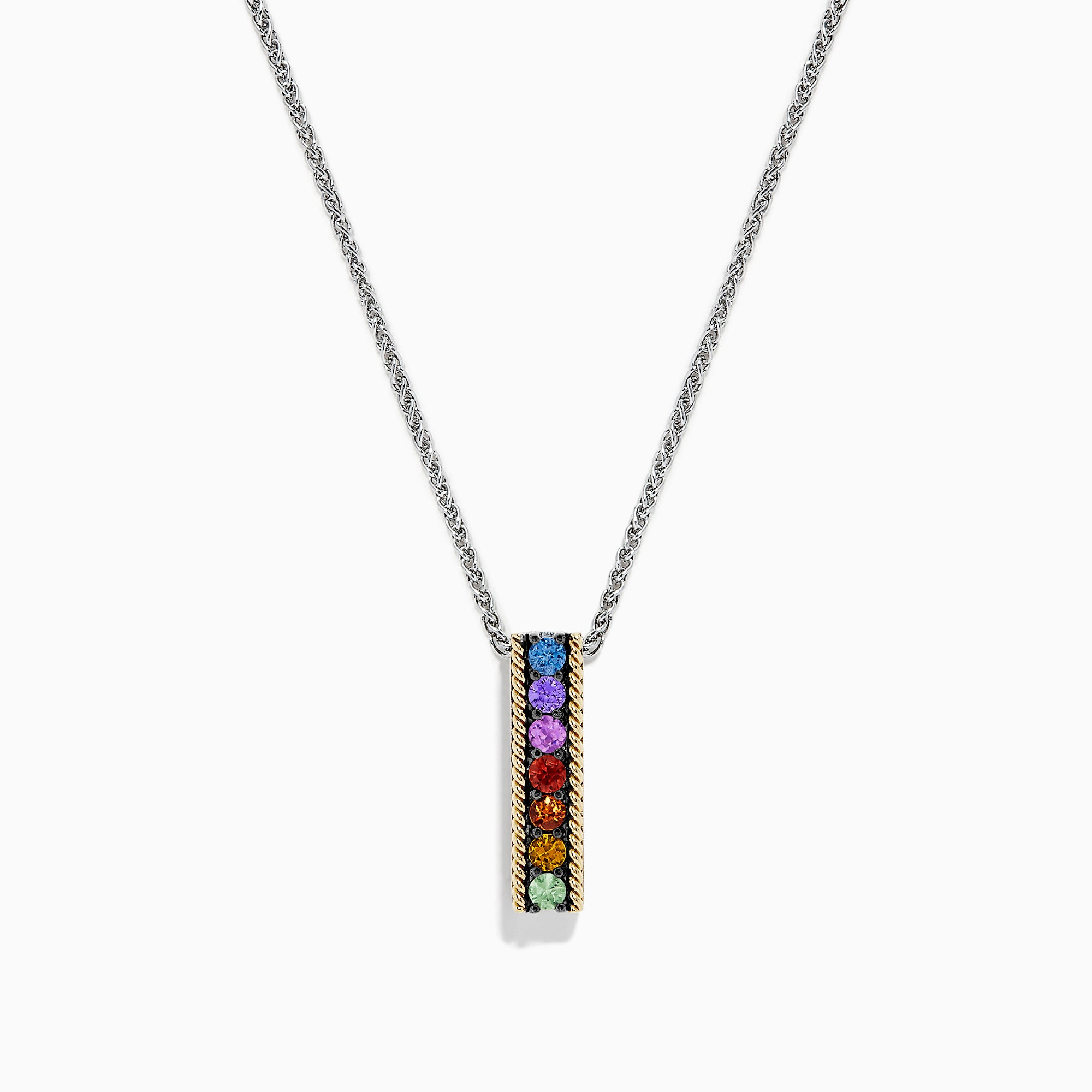 Effy Mosaic Sterling Silver & 18K Gold Multi Sapphire Pendant, 0.60 TCW