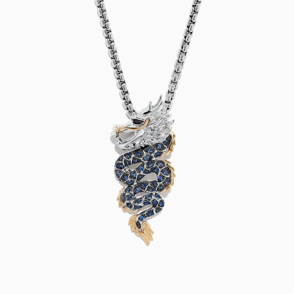 Effy Safari Sterling Silver and 18K Gold Sapphire Dragon Pendant, 0.71 TCW