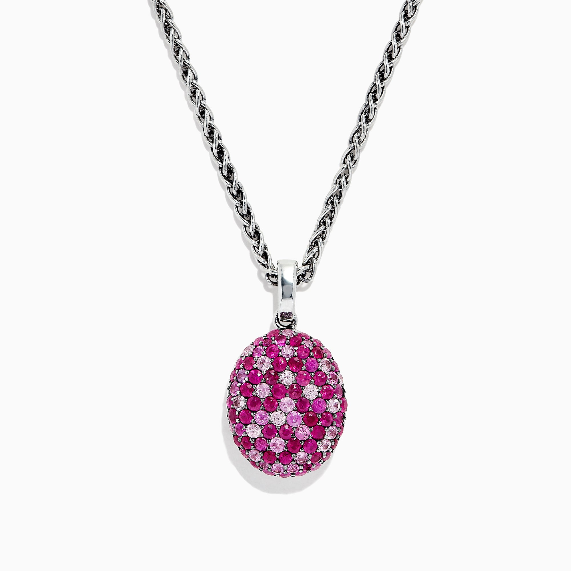 Effy Splash Sterling Silver Pink Sapphire and Ruby Oval Pendant, 3.49 TCW