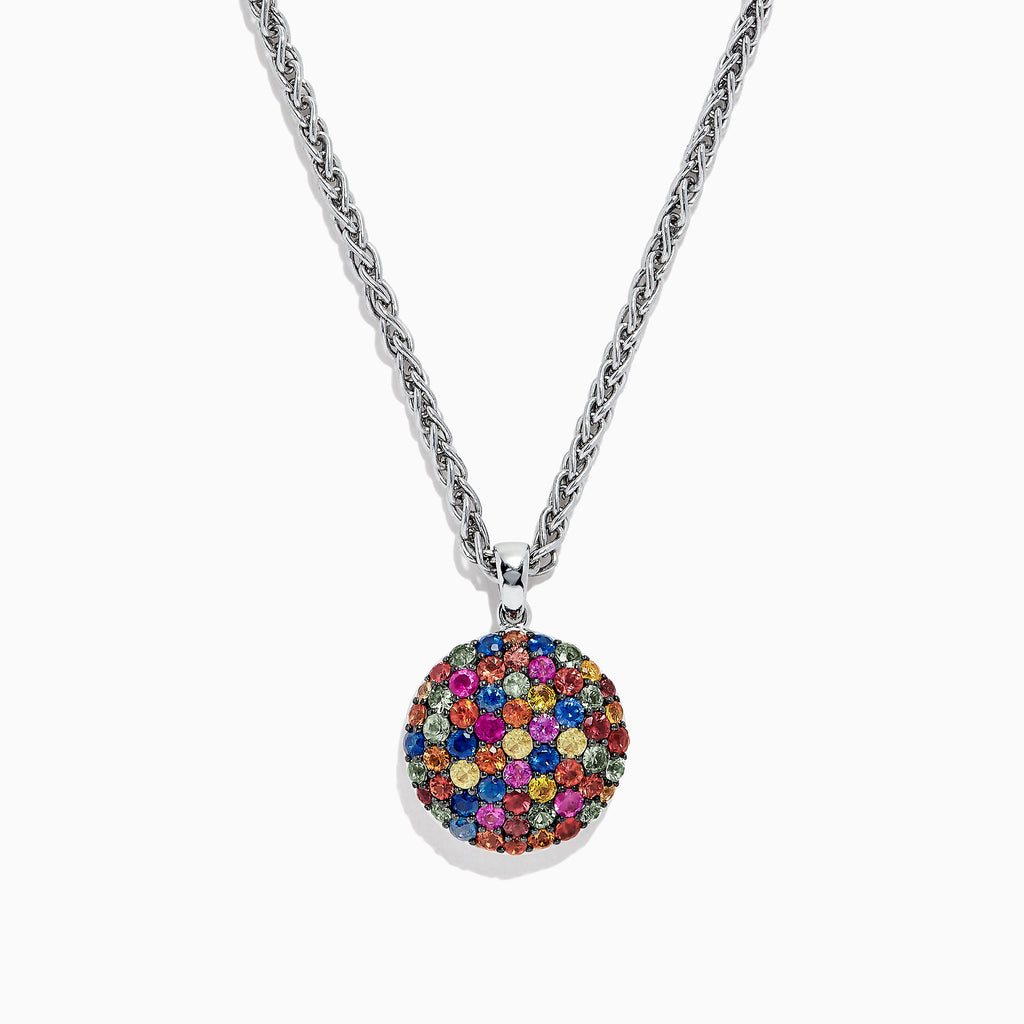 Effy Splash Sterling Silver Multi Sapphire Circle Pendant, 3.04 TCW
