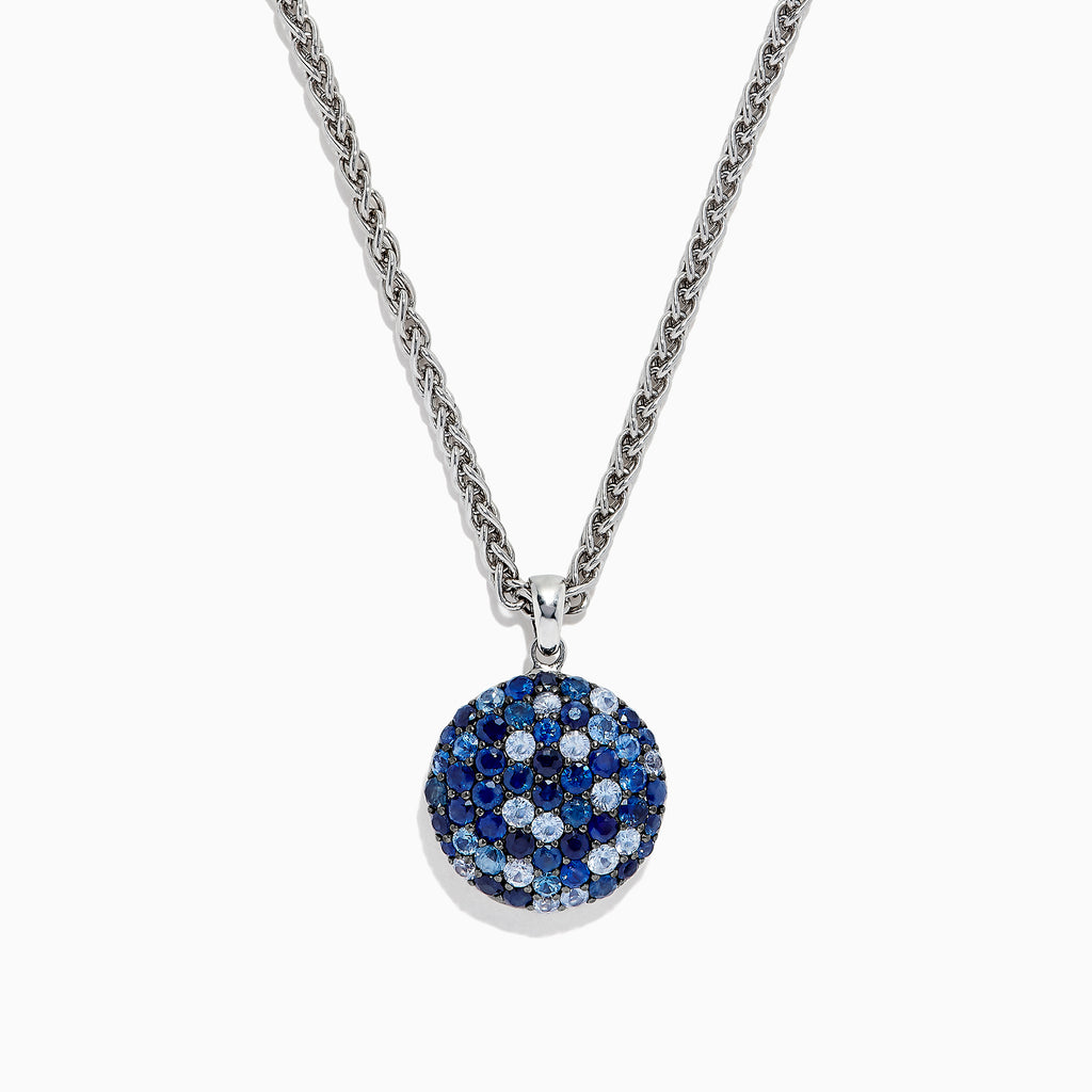Effy Splash Sterling Silver Blue Sapphire Circle Pendant, 3.15 TCW
