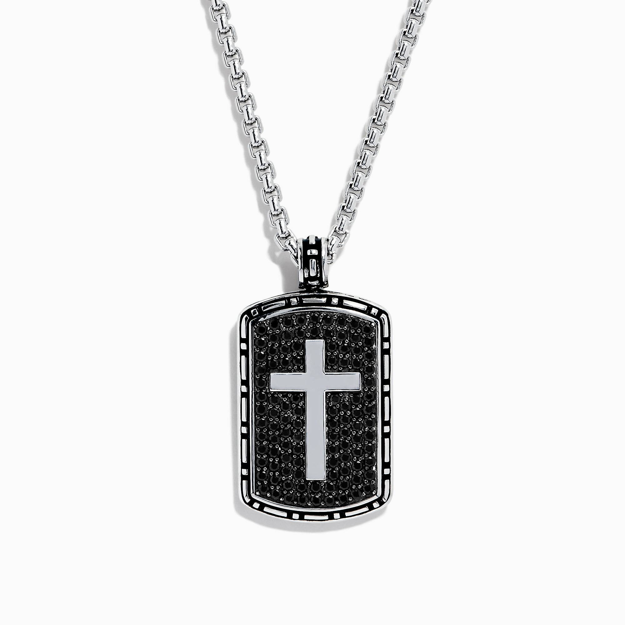 Effy Men's Sterling Silver Black Sapphire Cross Dog Tag Pendant, 1.87 TCW