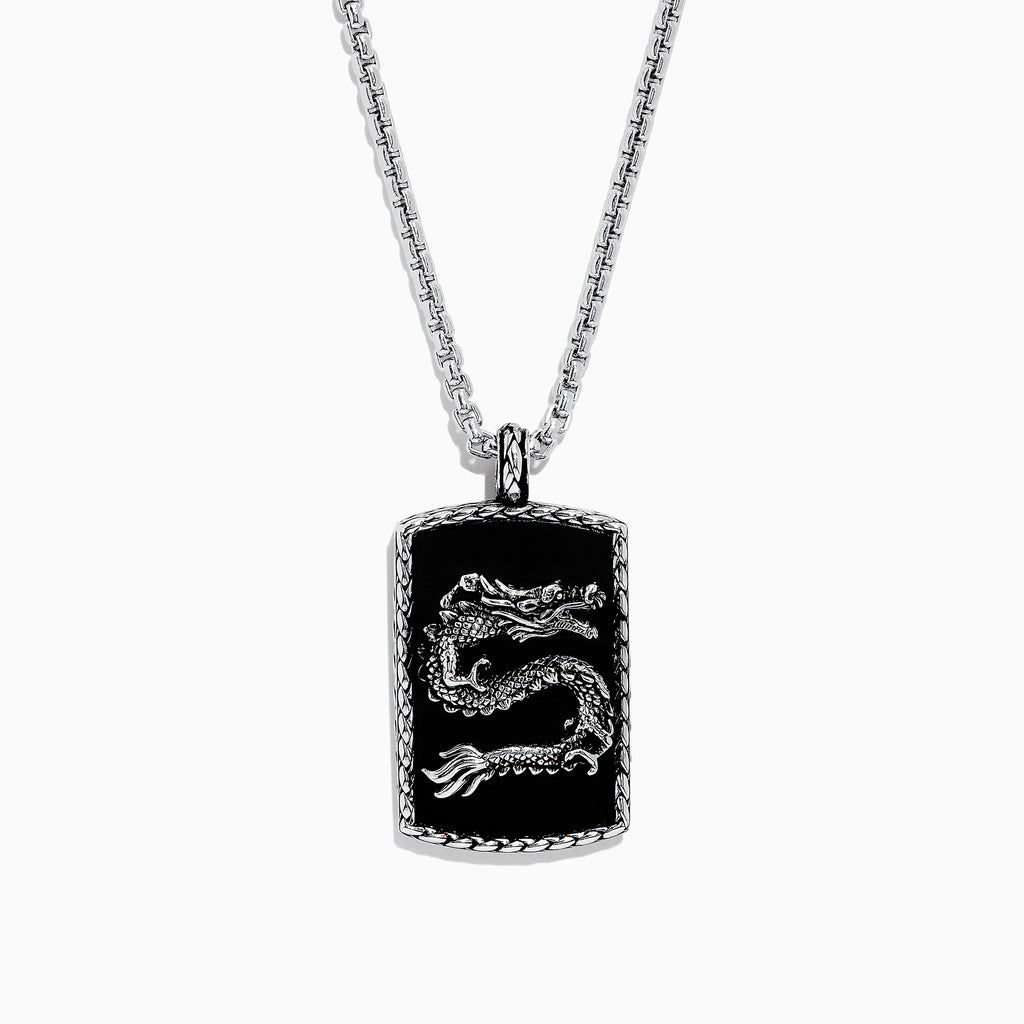 Effy Men's 925 Sterling Silver Onyx Dragon Dog Tag Pendant, 21.50 TCW