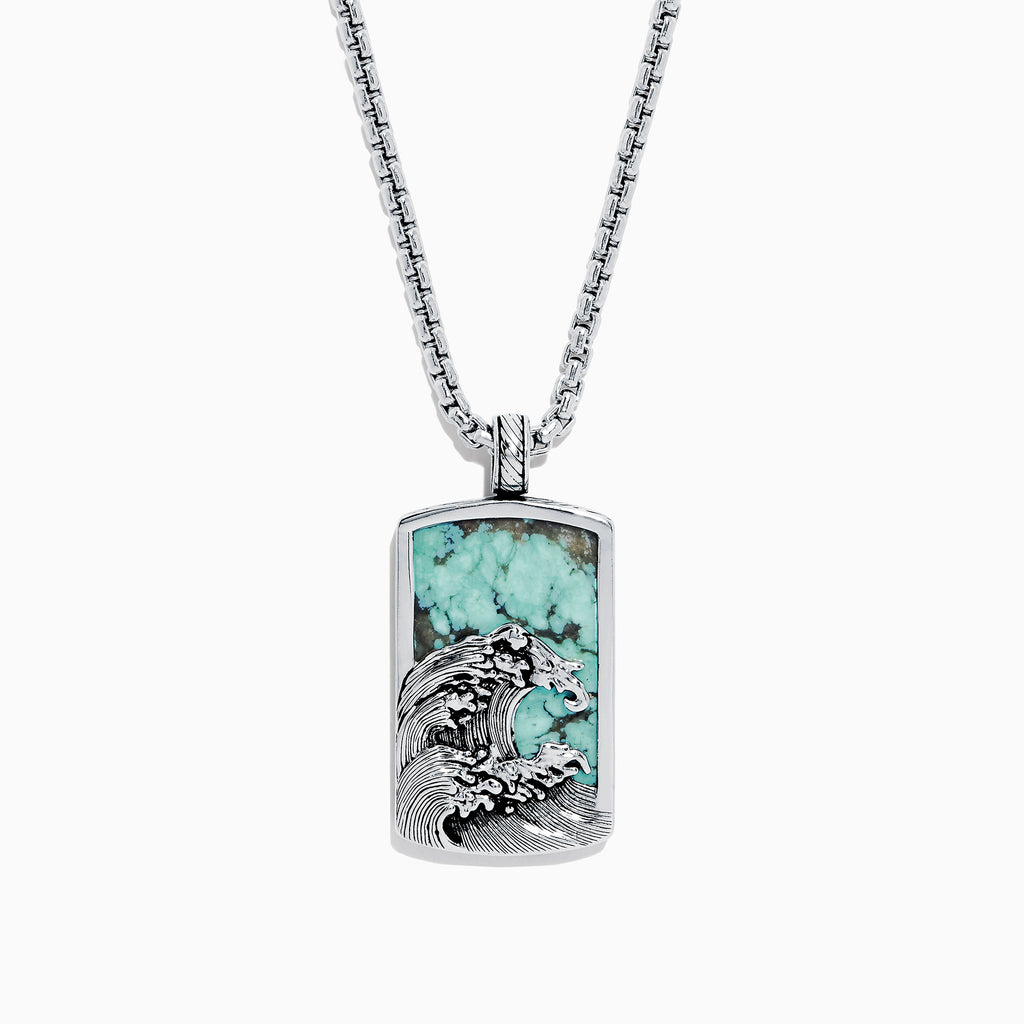 Effy Men's Sterling Silver Turquoise Wave Pendant, 10.50 TCW