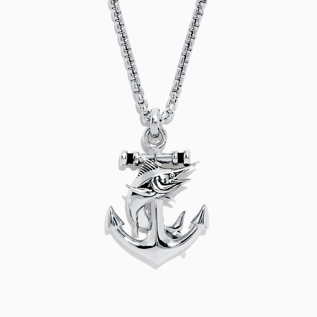 Effy Men's Sterling Silver Swordfish and Anchor Pendant