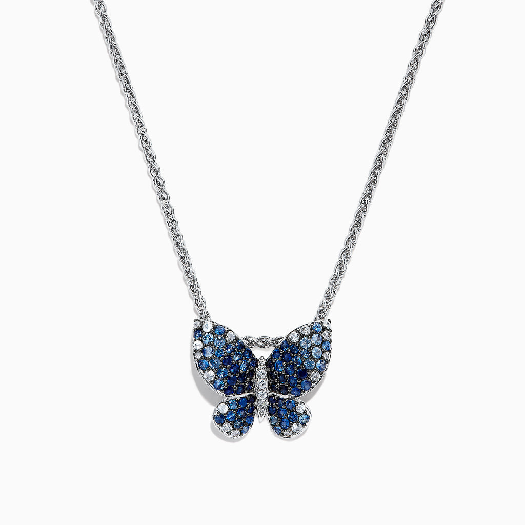 Effy Nature Sterling Silver Blue Sapphire Splash Butterfly Pendant, 1.70 TCW