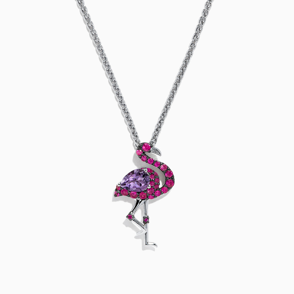 Effy Safari Sterling Silver Mutli Gemstone Flamingo Pendant, 1.88 TCW