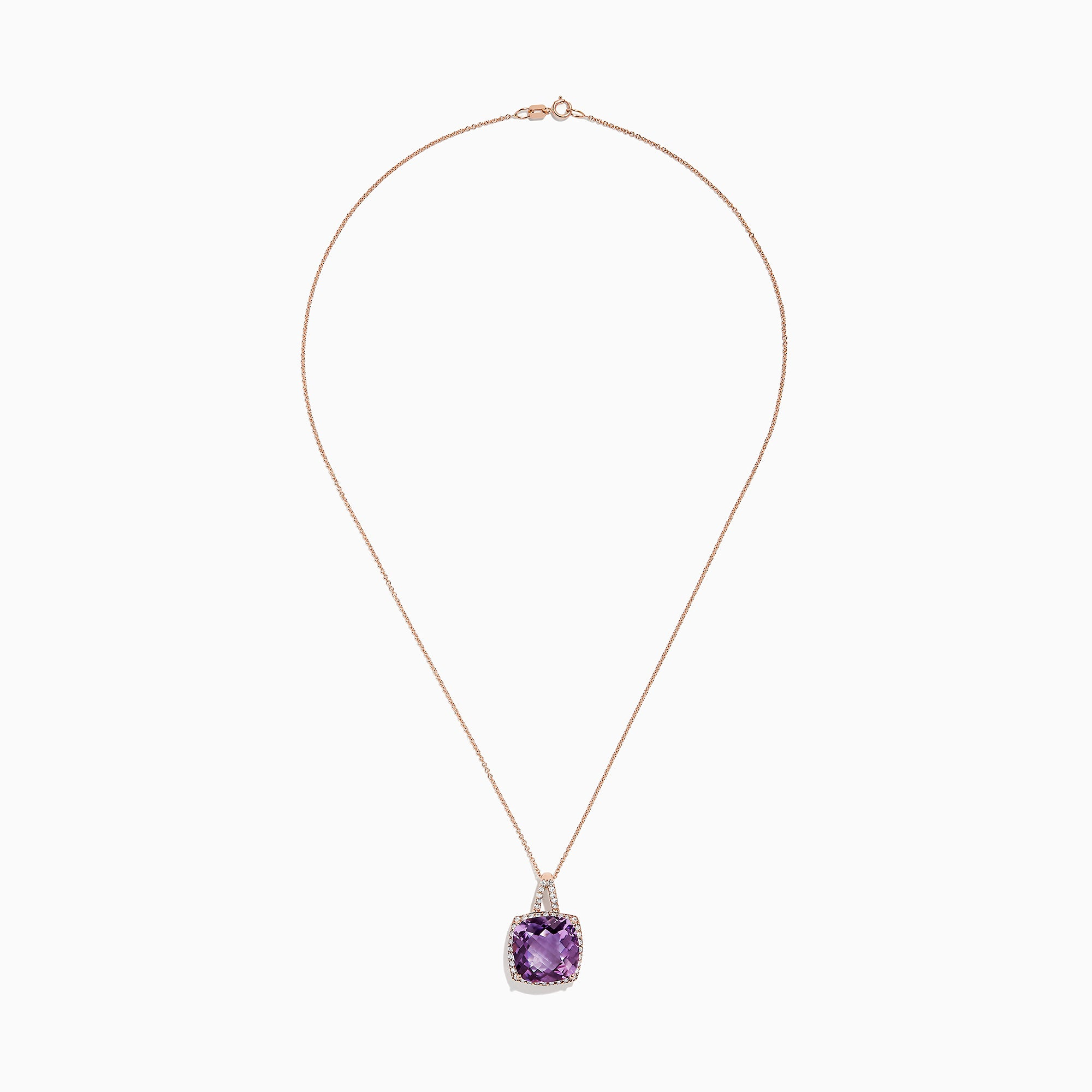 Effy 14K Rose Gold Amethyst and Diamond Pendant, 9.84 TCW