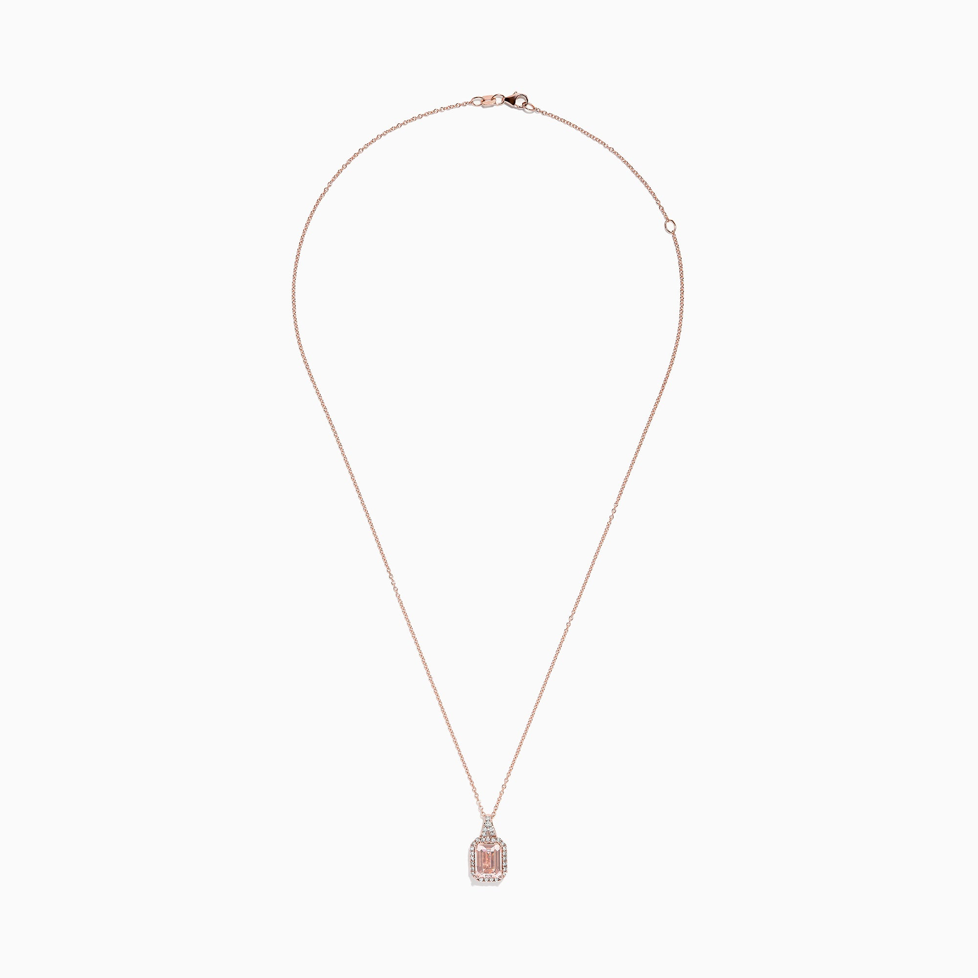 Effy Blush 14K Rose Gold Morganite and Diamond Necklace, 2.46 TCW