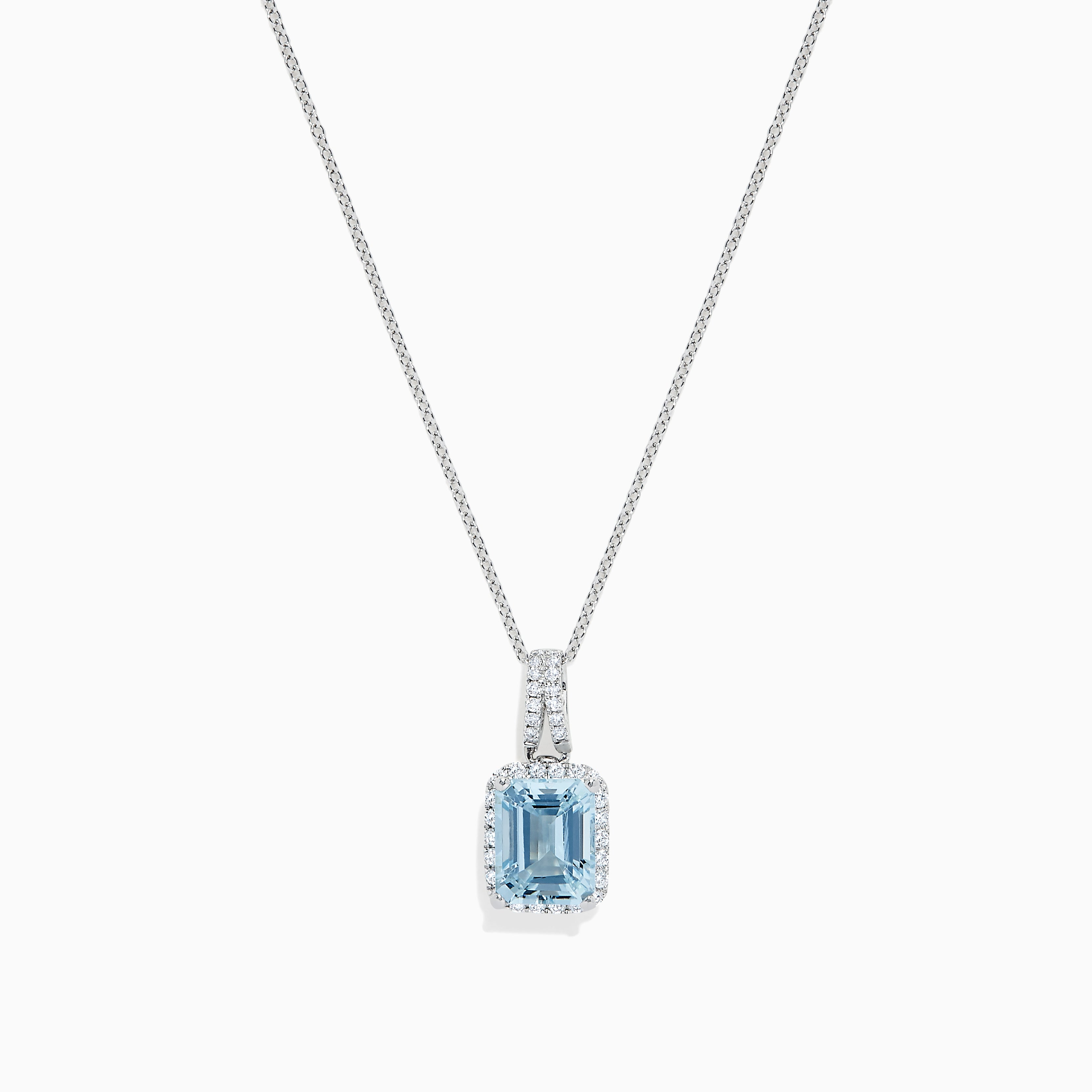 Effy Aquarius 14K White Gold Aquamarine and Diamond Pendant, 2.62 TCW