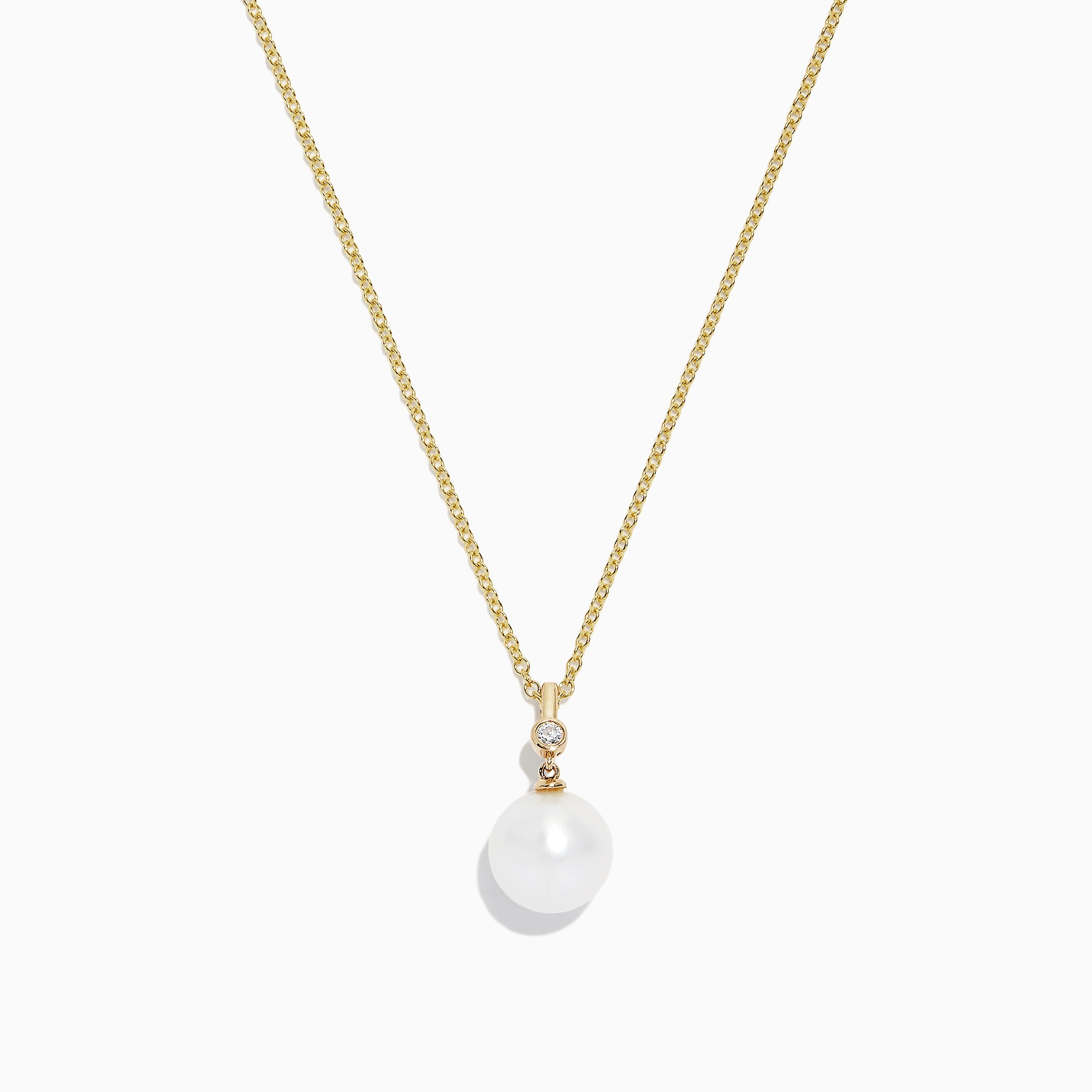 Effy 14K Yellow Gold Cultured Fresh Water Pearl and Diamond Pendant, 0.02 TCW