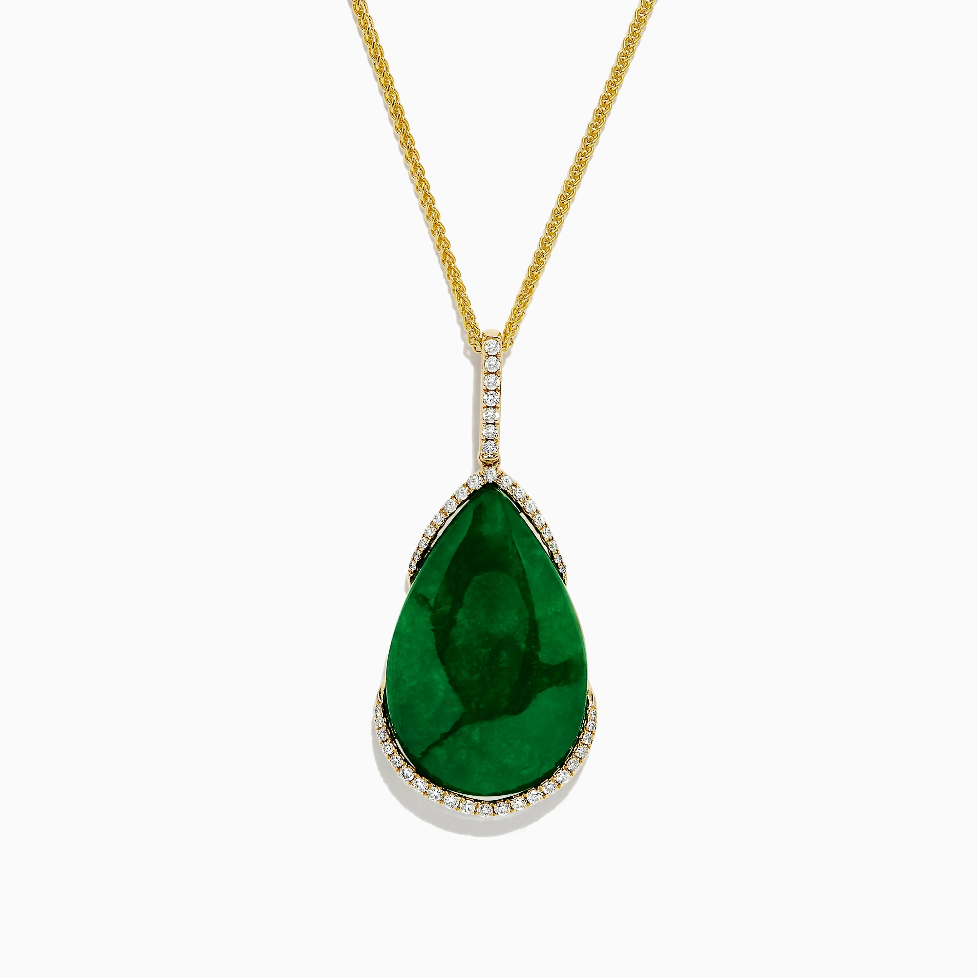 Effy 14K Yellow Gold Jade and Diamond Pendant, 29.11 TCW