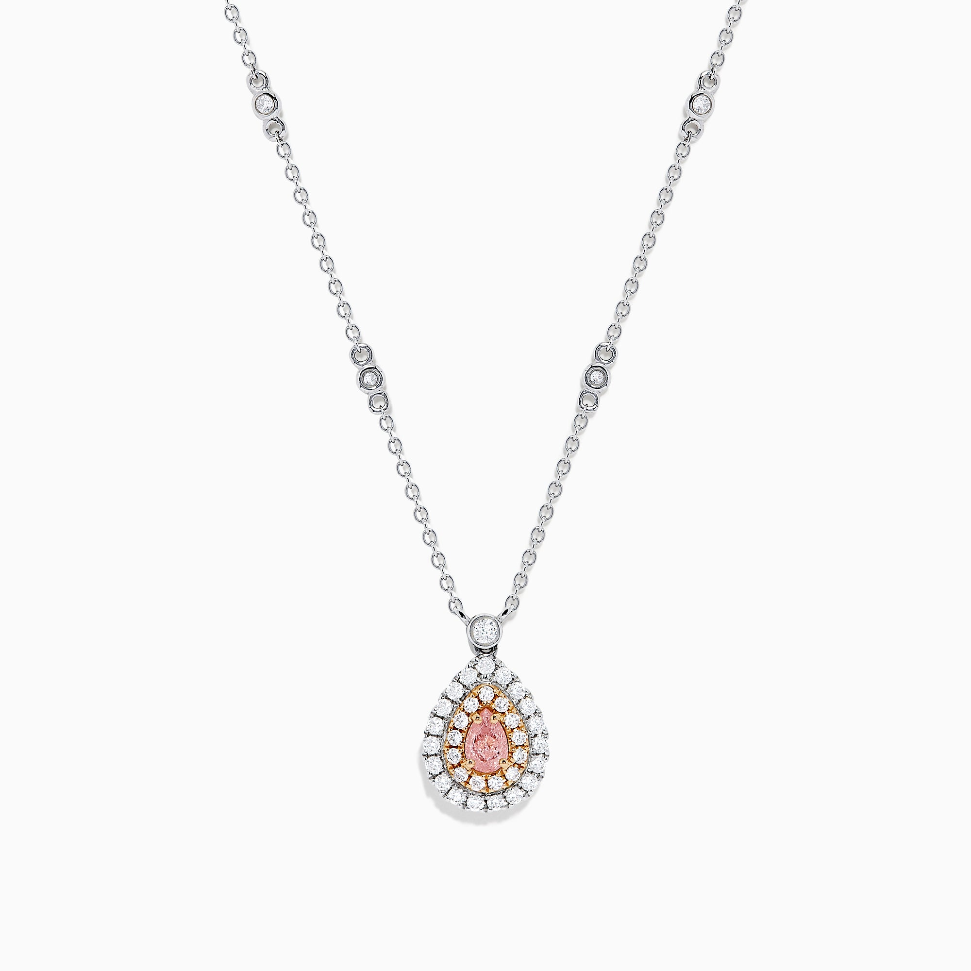18K Gold White, Pink & Certified Pinkish-Brown Diamond Necklace, 0.70 TCW