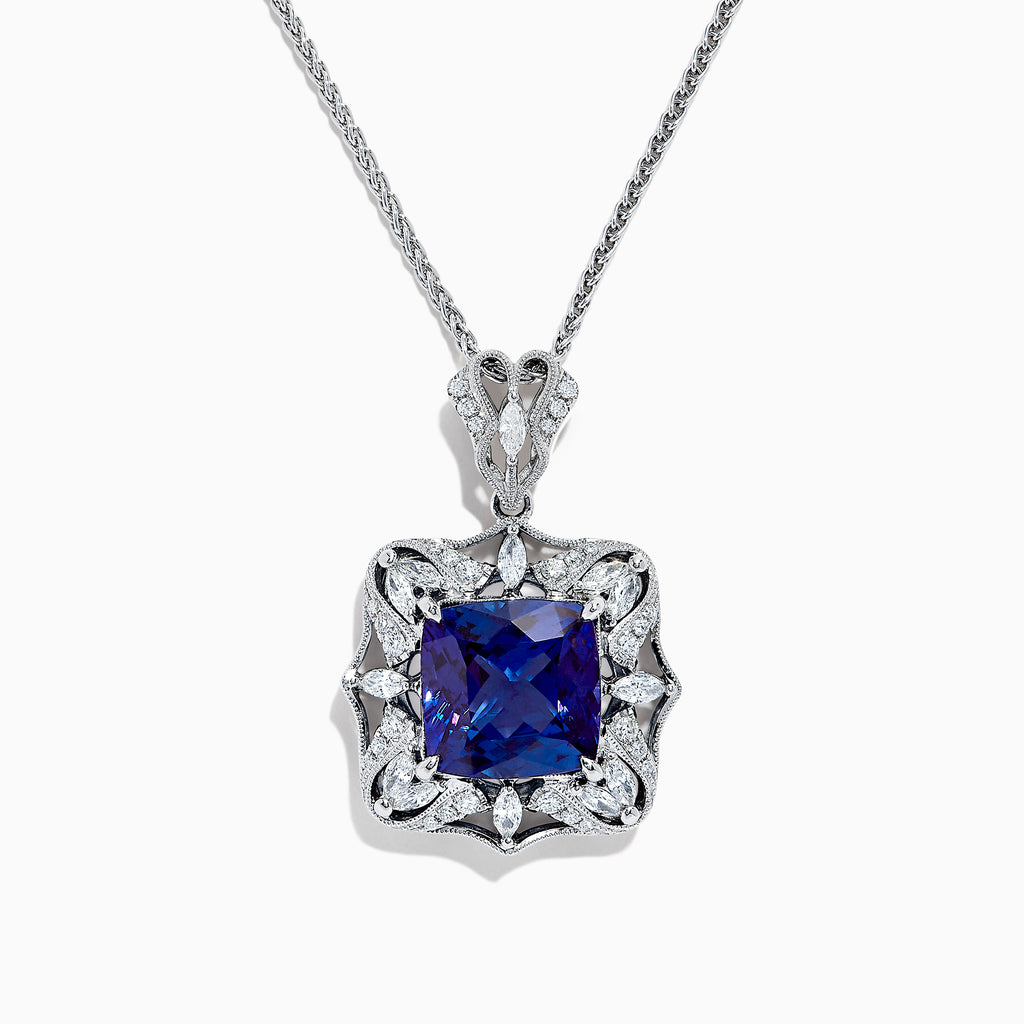Effy Tanzanite Royale 18K White Gold Tanzanite & Diamond Pendant, 12.35 TCW