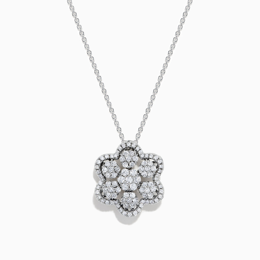 14K White Gold Diamond Snowflake Pendant, 1.10 TCW