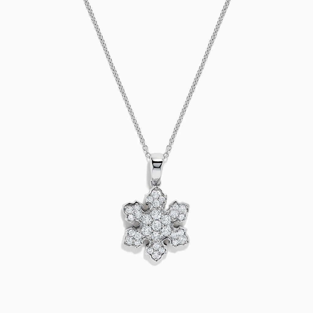 14K White Gold Diamond Snowflake Pendant, 0.60 TCW