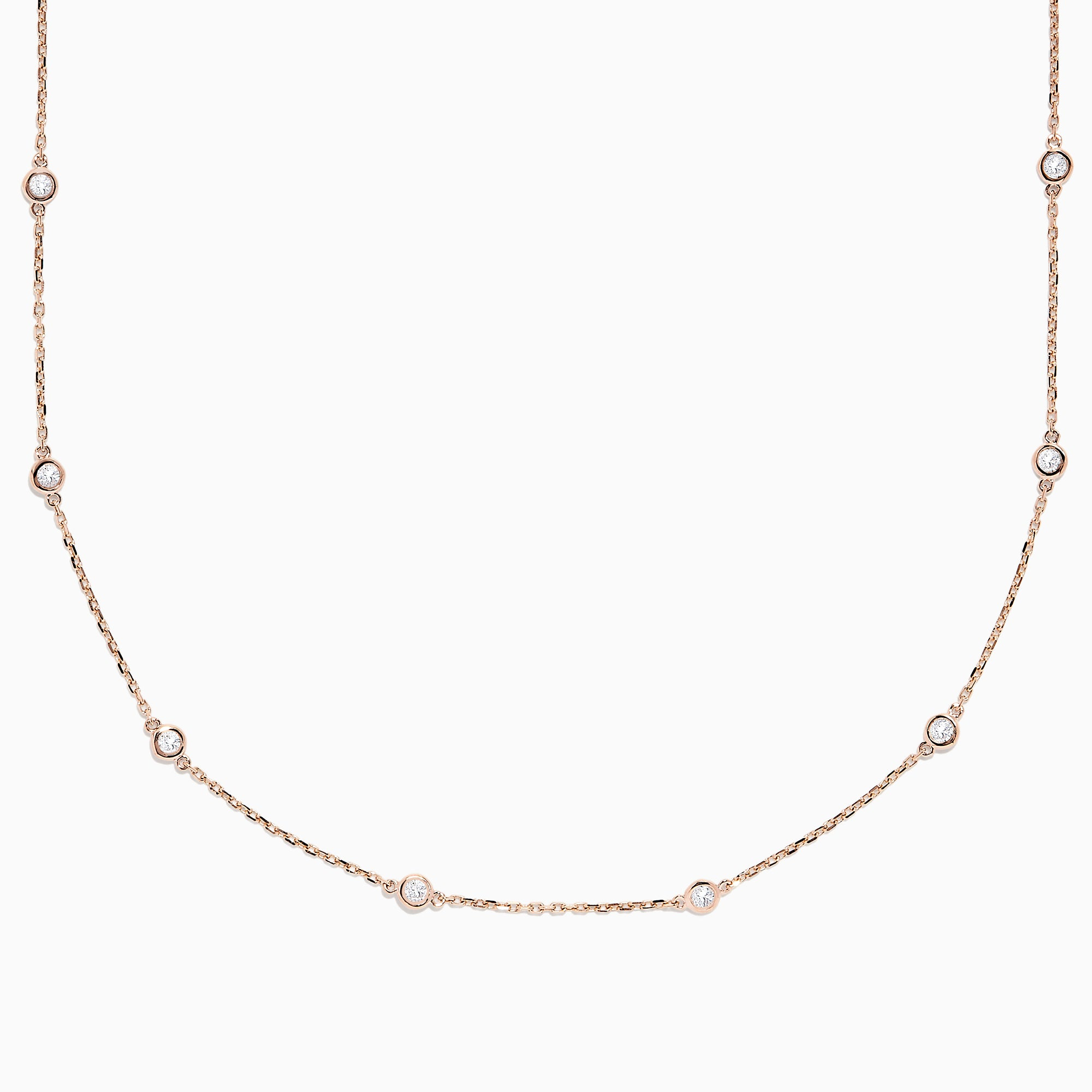 "14K Rose Gold 18"" Diamond Station Necklace, 0.75 TCW"