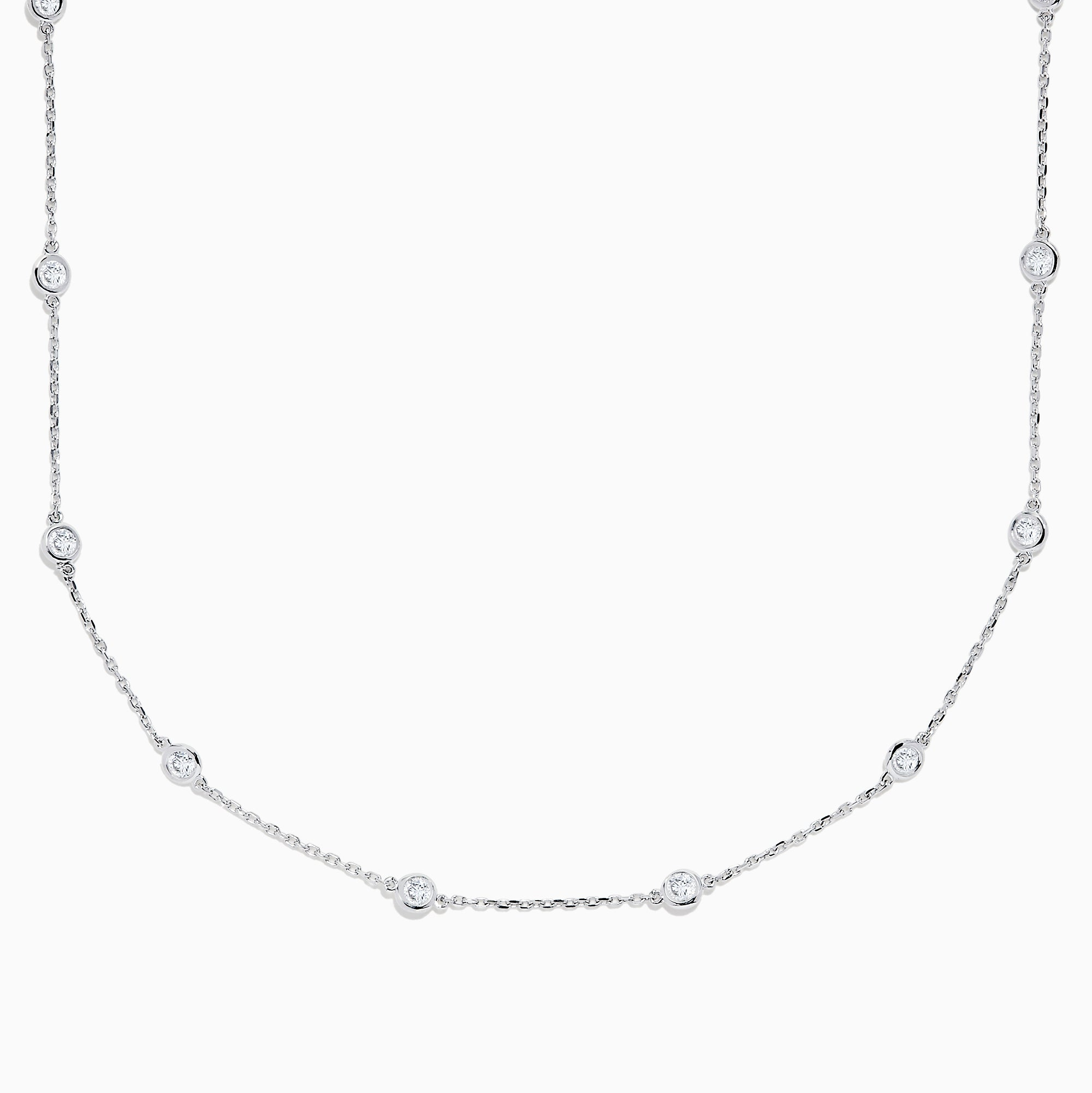 "14K White Gold 18"" Diamond Station Necklace, 1.50 TCW"
